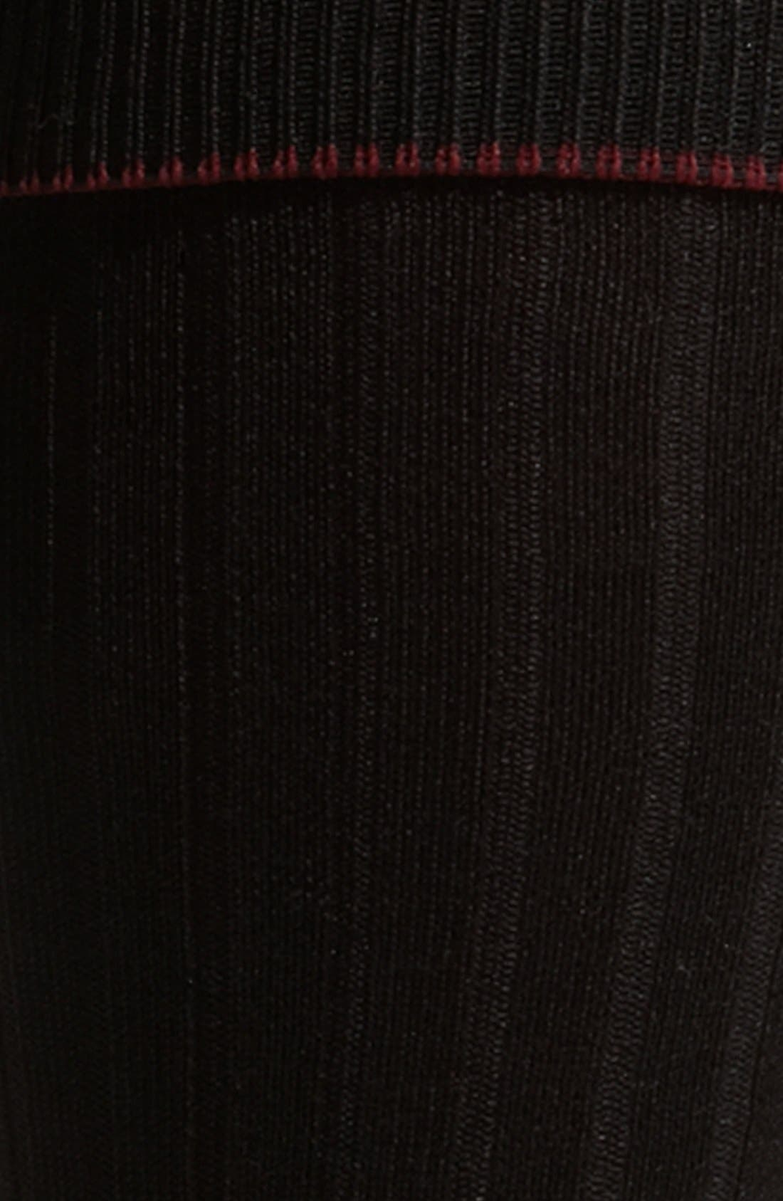 NORDSTROM MEN'S SHOP, Over the Calf Cotton Blend Socks, Alternate thumbnail 3, color, BLACK