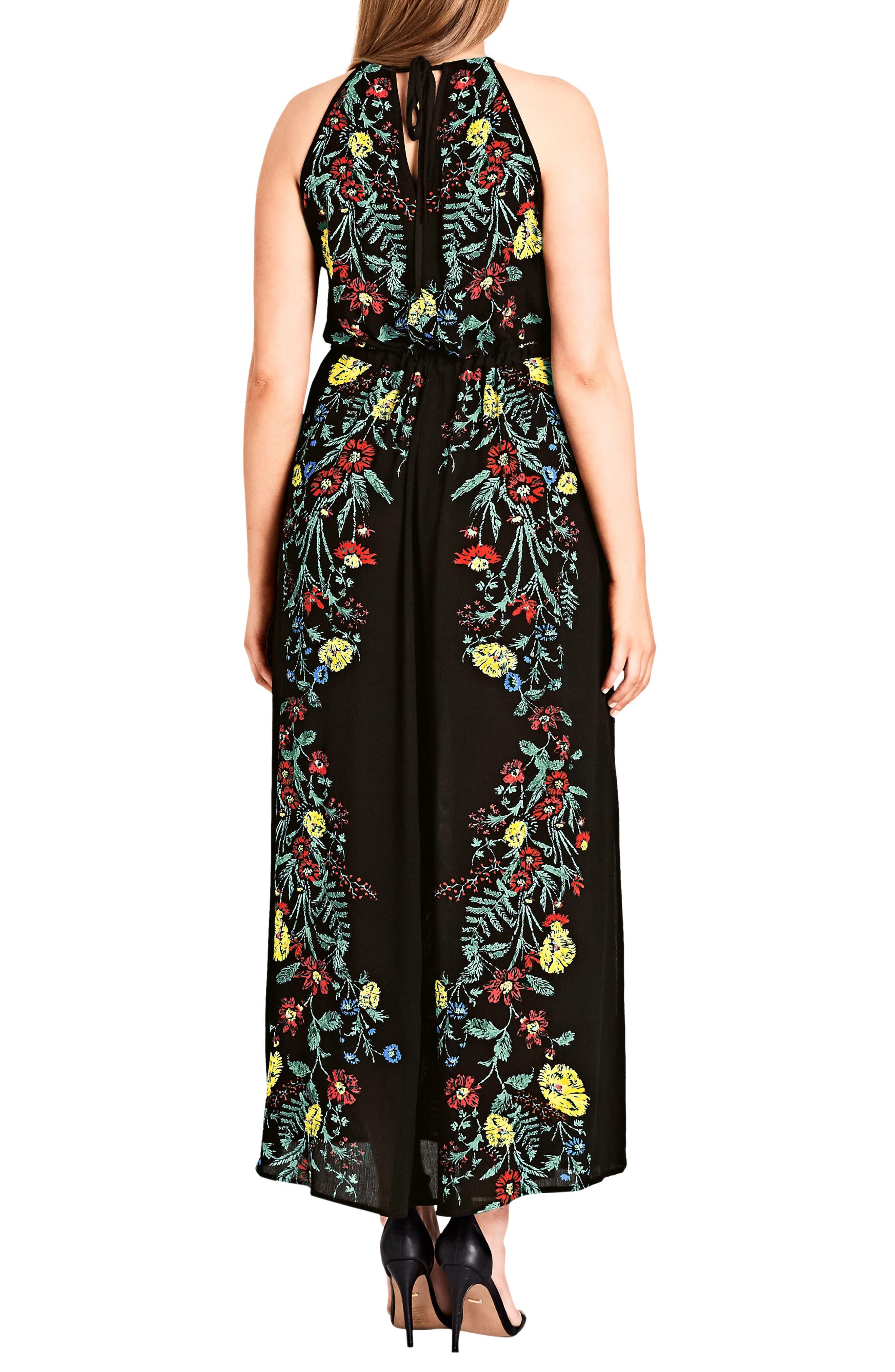 CITY CHIC, Secret Vine Maxi Dress, Alternate thumbnail 2, color, BLACK