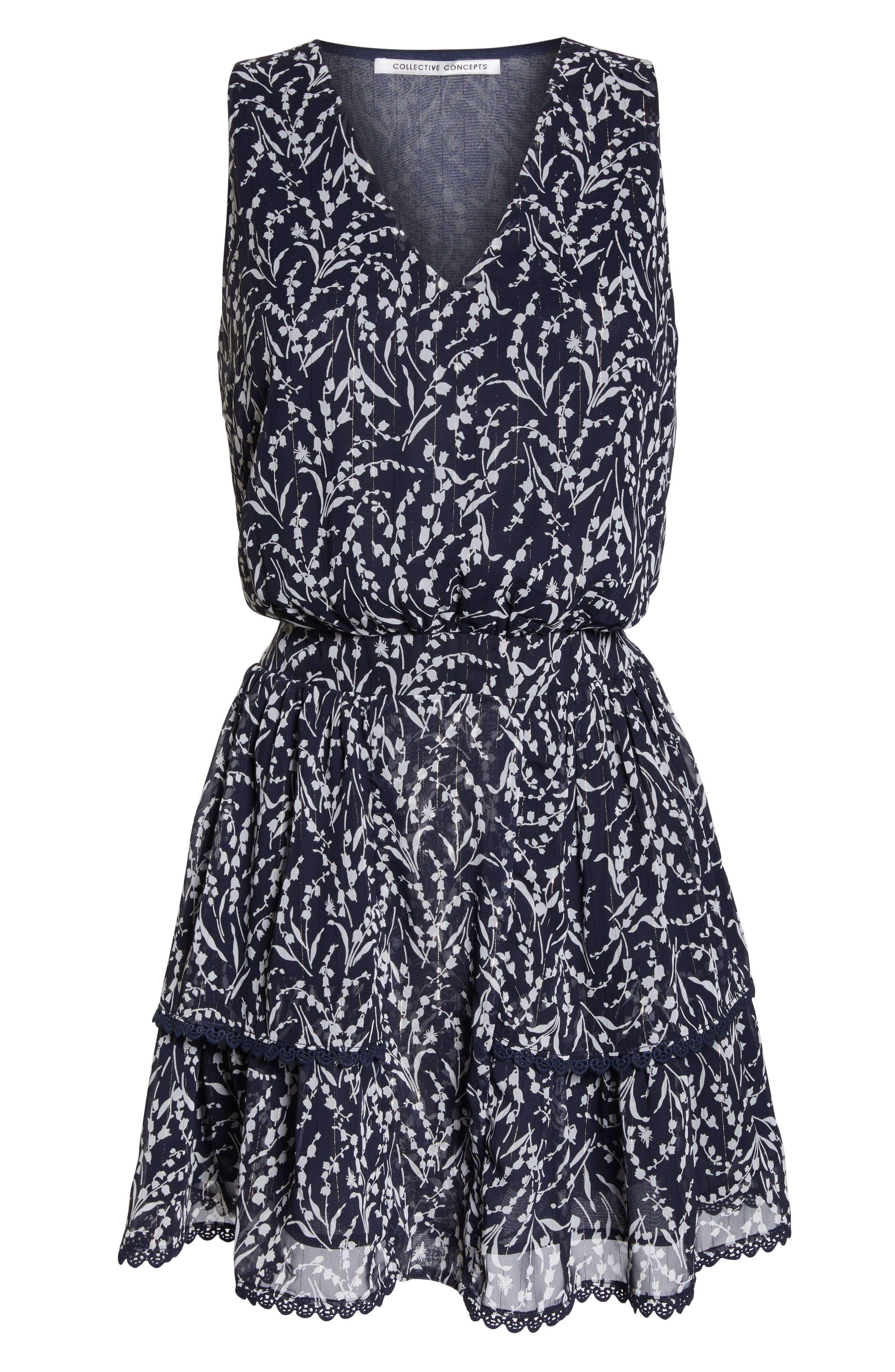 19 COOPER, Tiered Floral Sleeveless Dress, Alternate thumbnail 7, color, NAVY/ WHITE