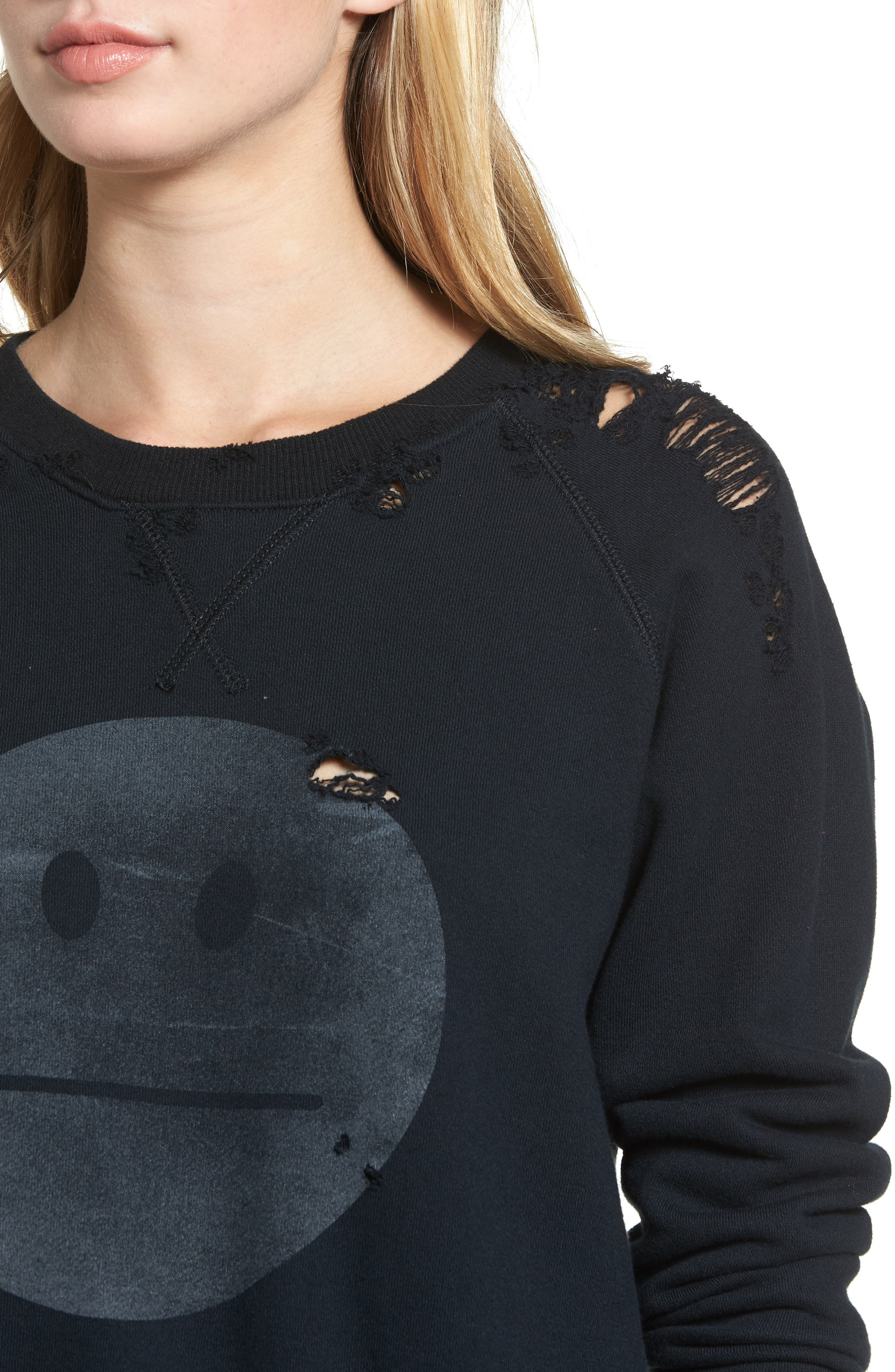 MOTHER, 'The Square' Destroyed Graphic Pullover Sweatshirt, Alternate thumbnail 4, color, 016