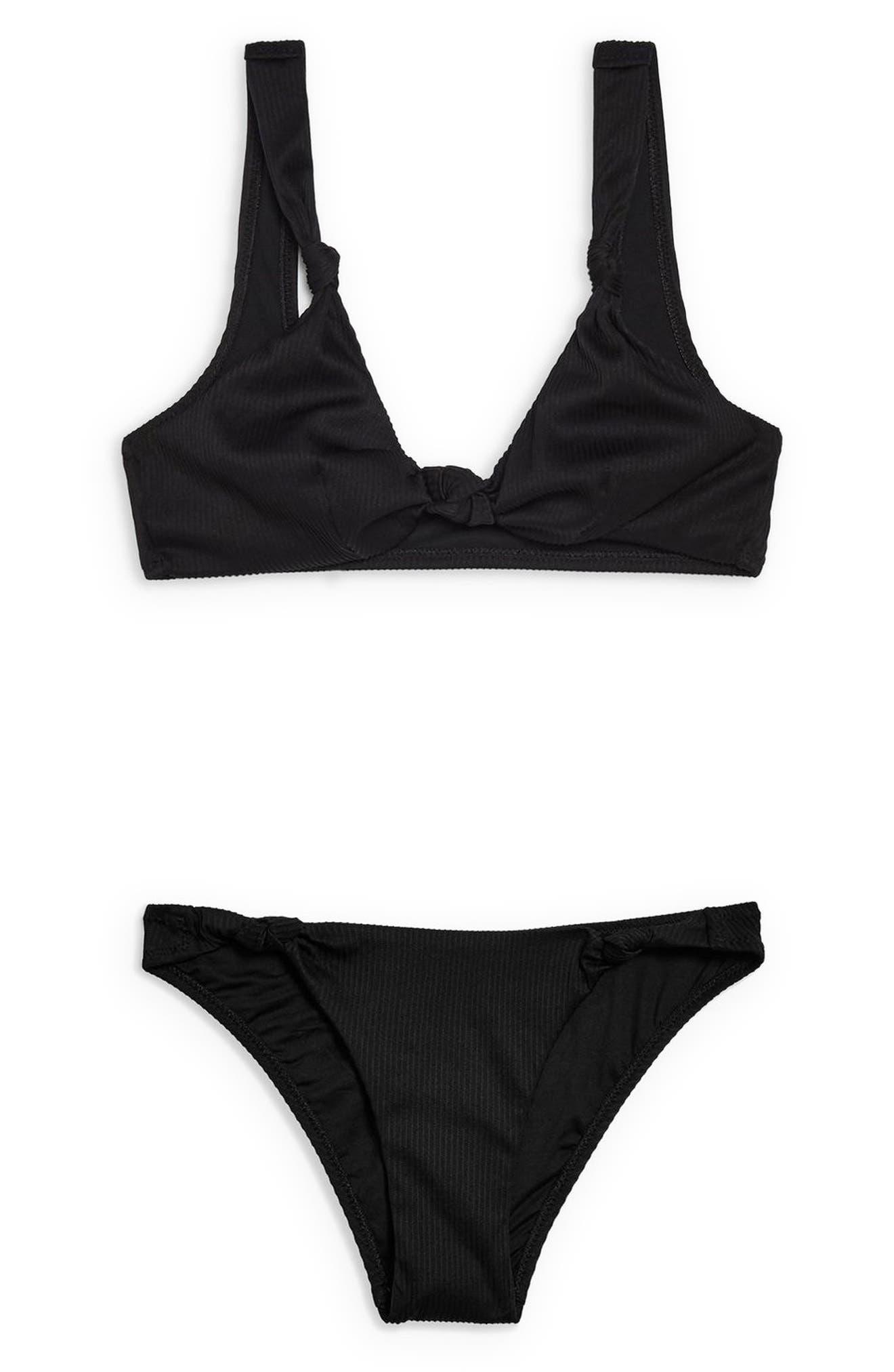 TOPSHOP, Ribbed Side Knot Bikini Bottoms, Alternate thumbnail 5, color, BLACK