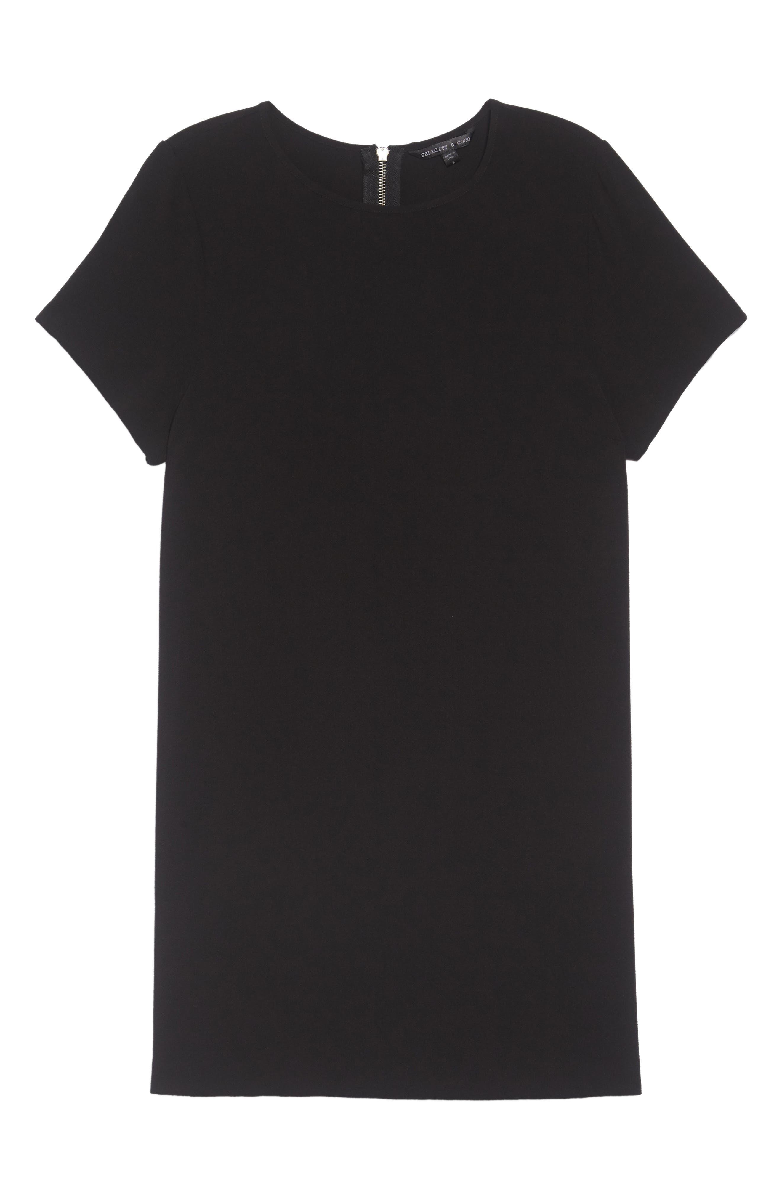FELICITY & COCO, Devery Crepe Shift Dress, Alternate thumbnail 2, color, 001