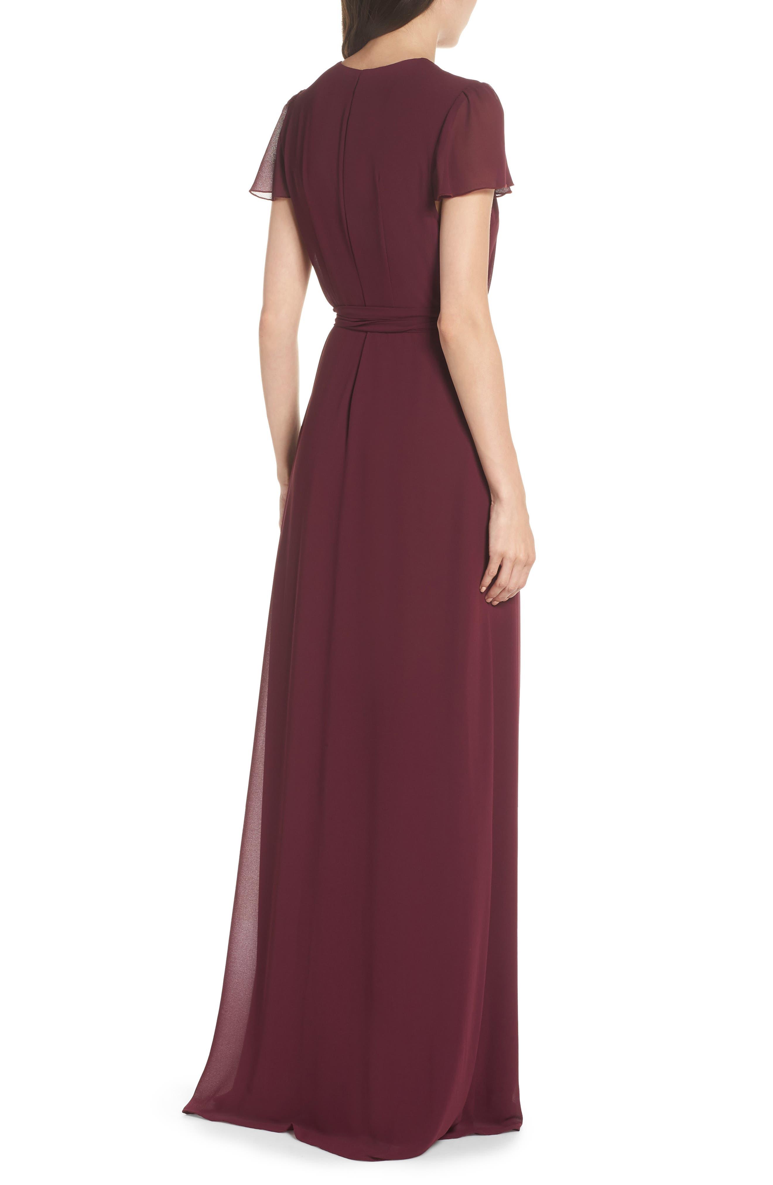 SHOW ME YOUR MUMU, Noelle Wrap Dress, Alternate thumbnail 2, color, MERLOT CHIFFON