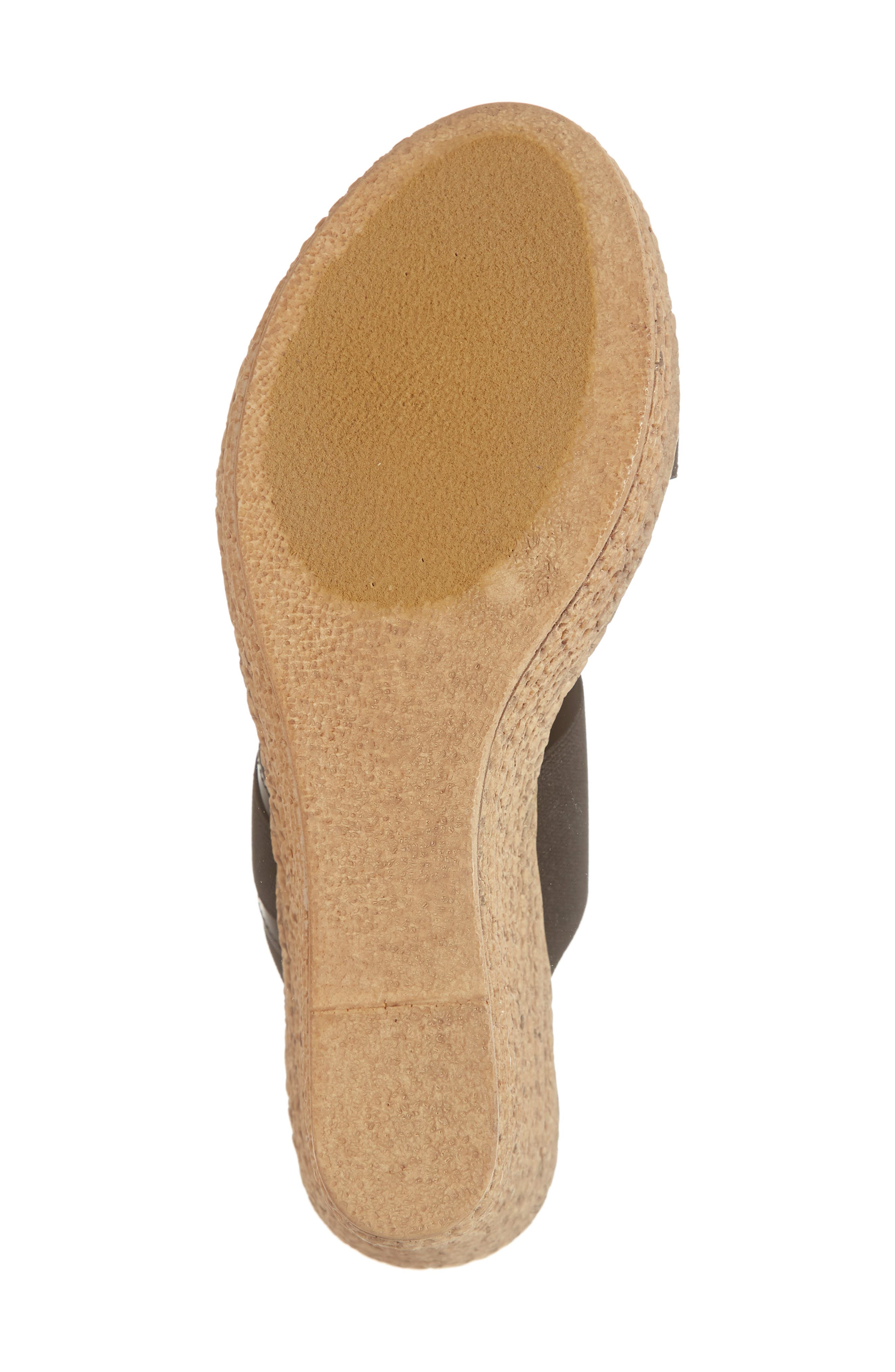 TUSCANY BY EASY STREET<SUP>®</SUP>, Marisole Platform Wedge Sandal, Alternate thumbnail 6, color, BLACK LEATHER