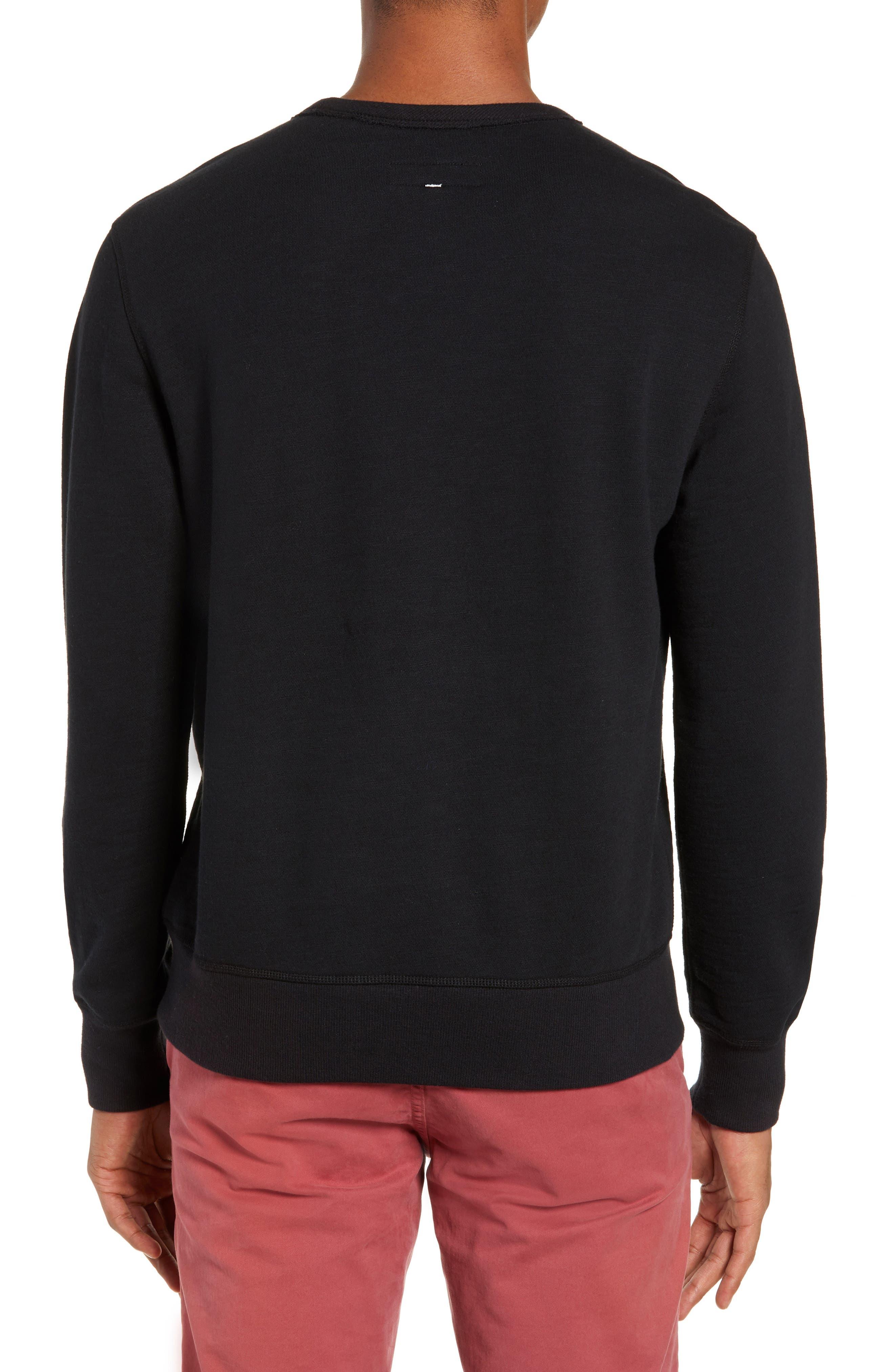 RAG & BONE, Regular Upside Down Sweatshirt, Alternate thumbnail 2, color, 001