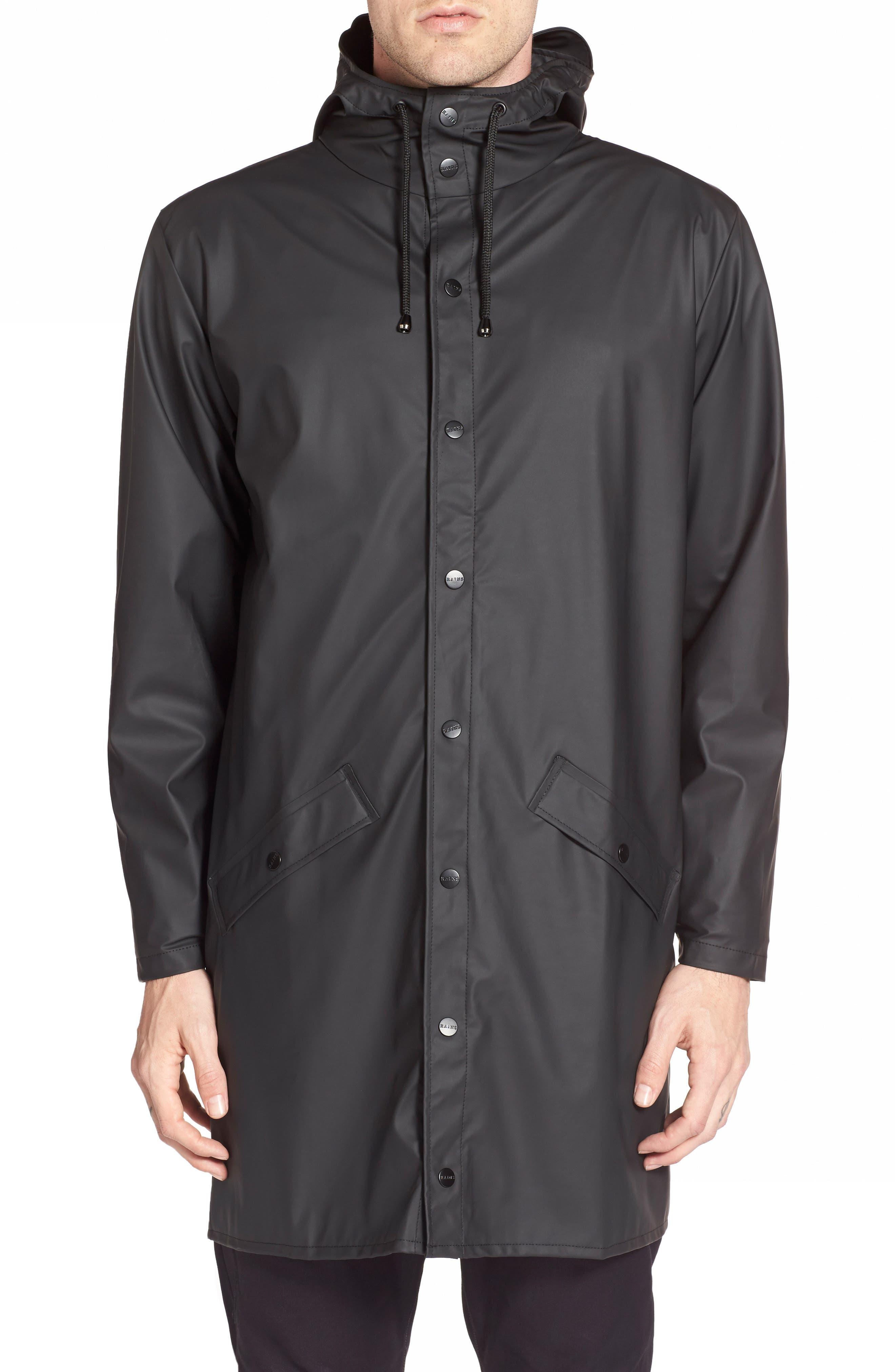 RAINS Waterproof Hooded Long Rain Jacket, Main, color, BLACK