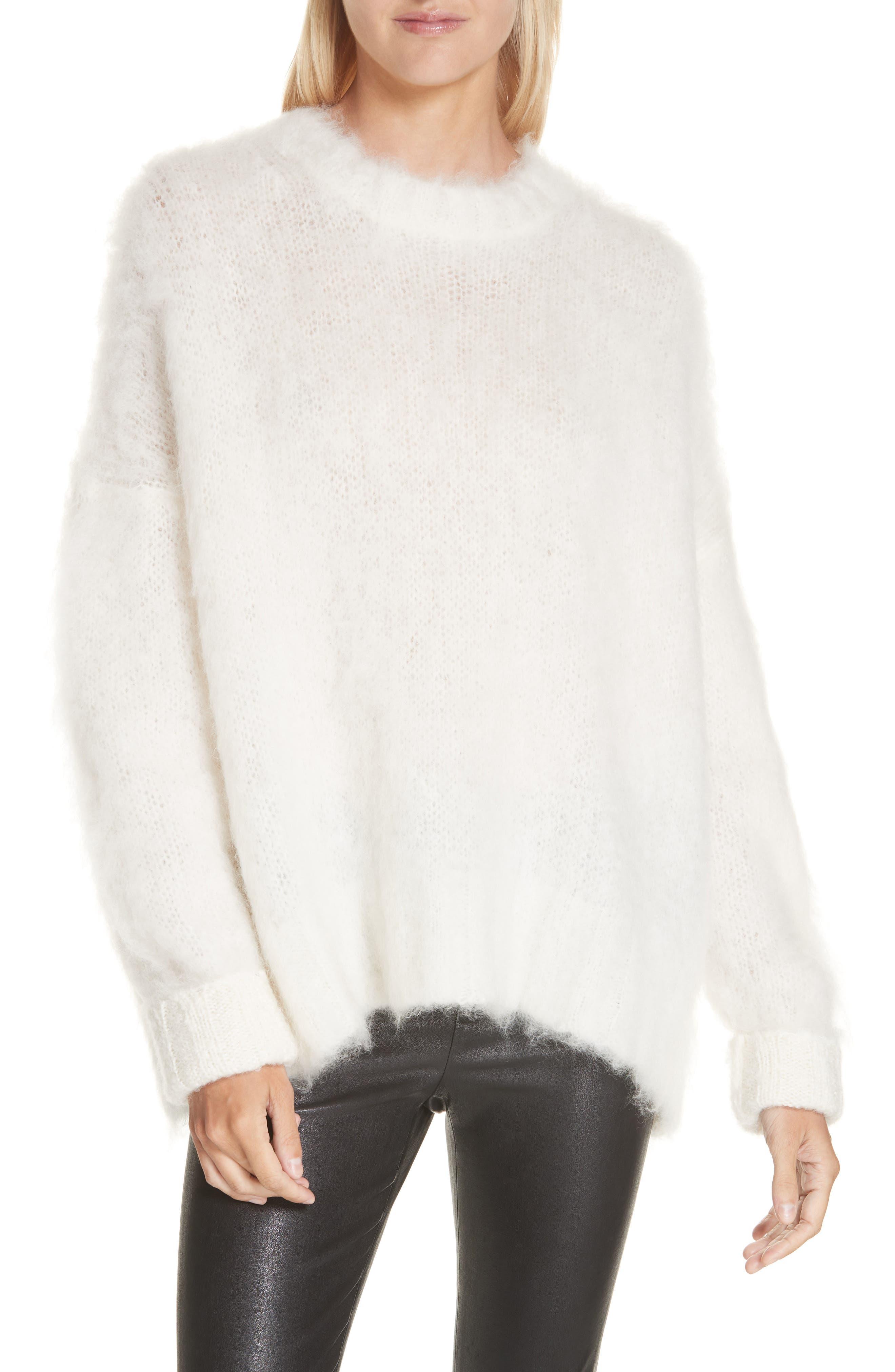 HELMUT LANG, Mohair Blend Sweater, Main thumbnail 1, color, NATURAL WHITE