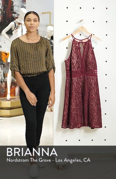 Sheer Inset Lace Fit & Flare Dress, sales video thumbnail