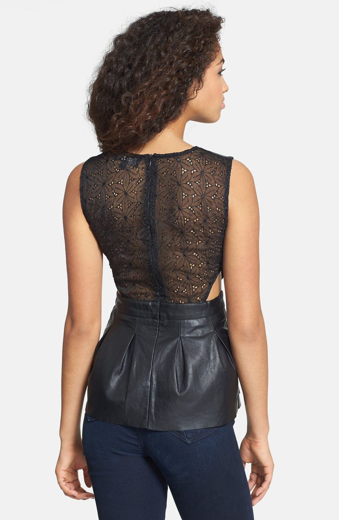 C. LUCE, Embroidered Back Faux Leather Peplum Top, Alternate thumbnail 2, color, 001