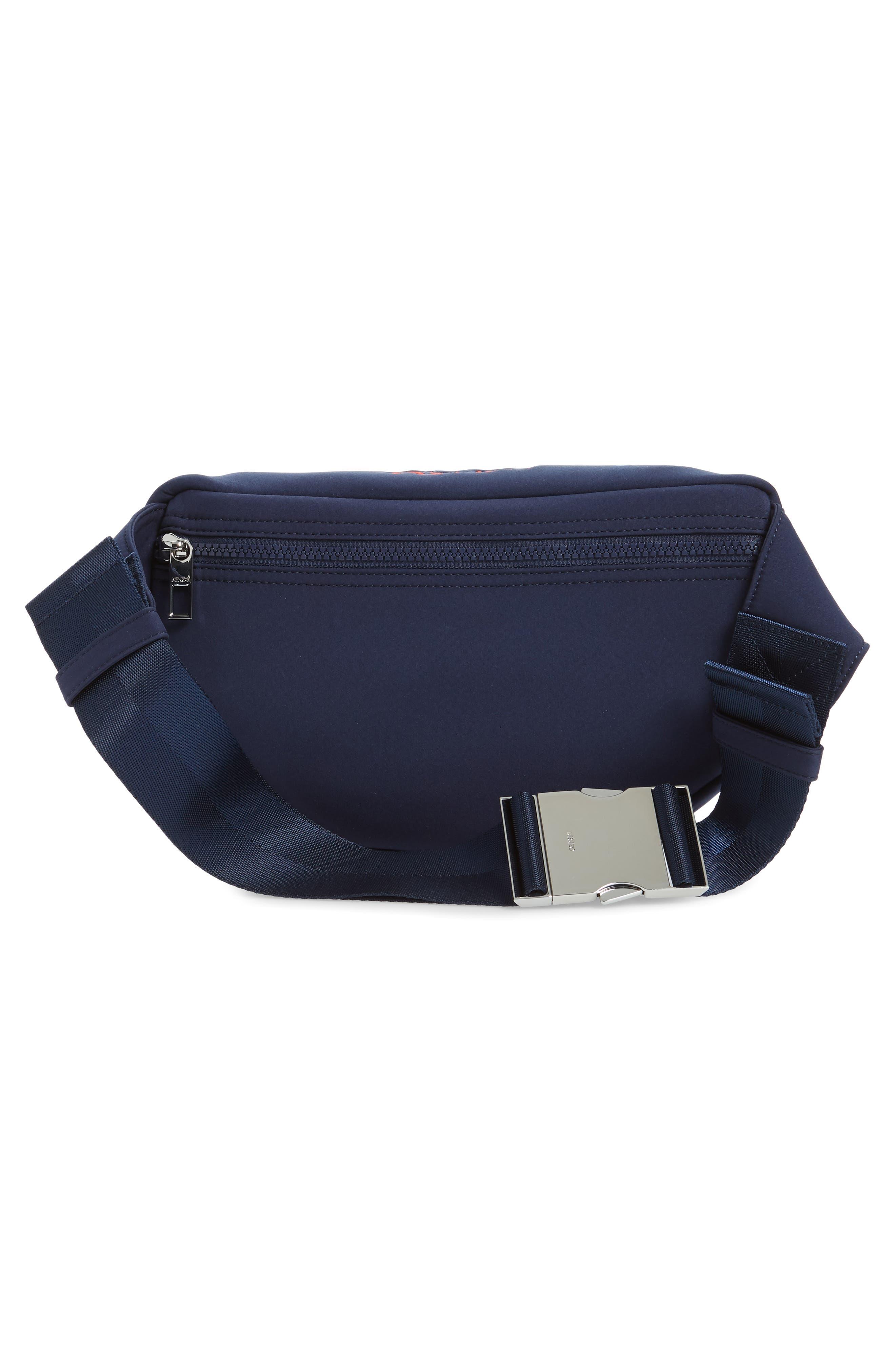 KENZO, Embroidered Tiger Belt Bag, Alternate thumbnail 4, color, 76A NAVY BLUE