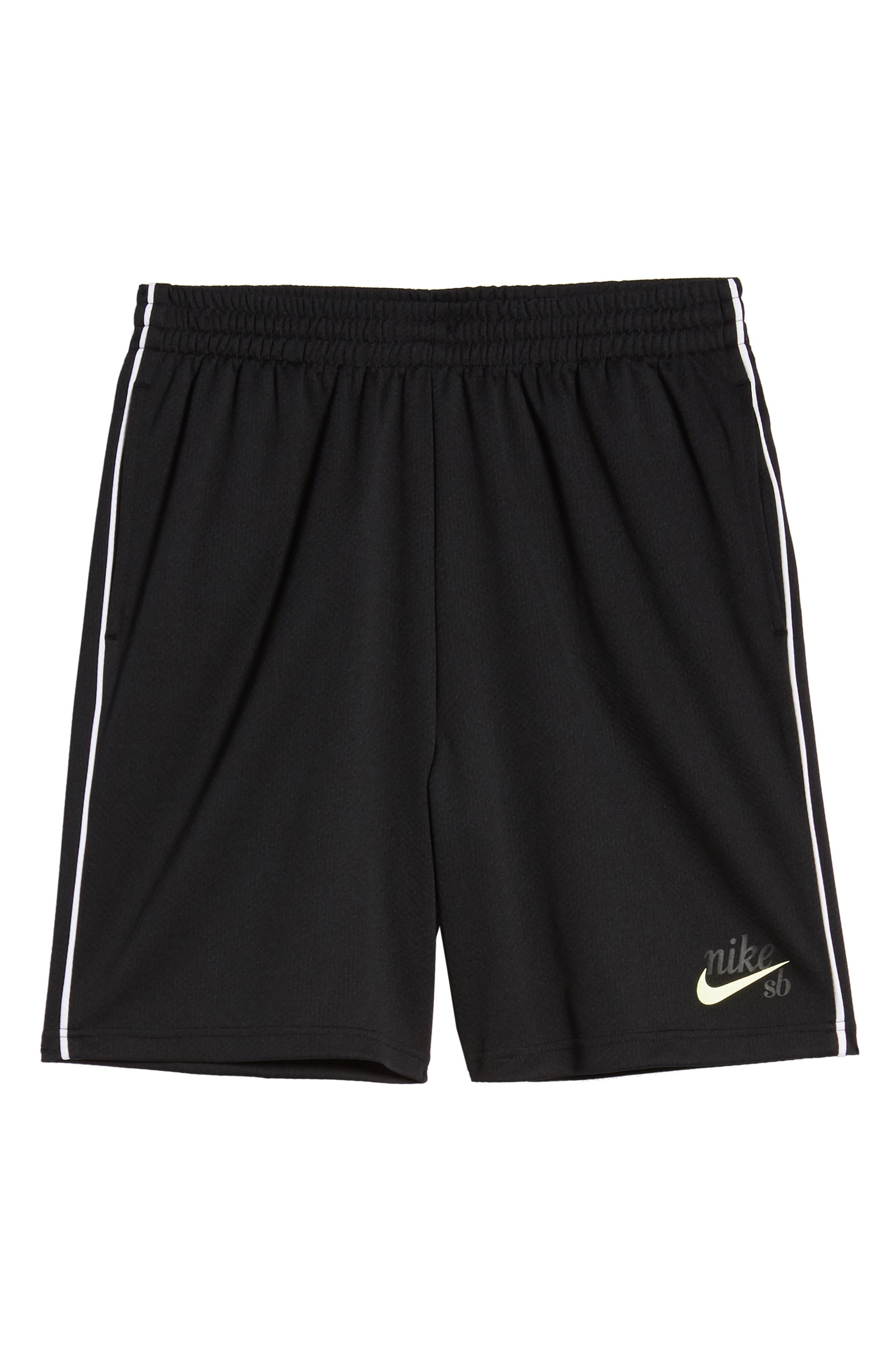 NIKE SB, Dry Sunday Morning Shorts, Alternate thumbnail 7, color, BLACK/ WHITE/ BARELY VOLT