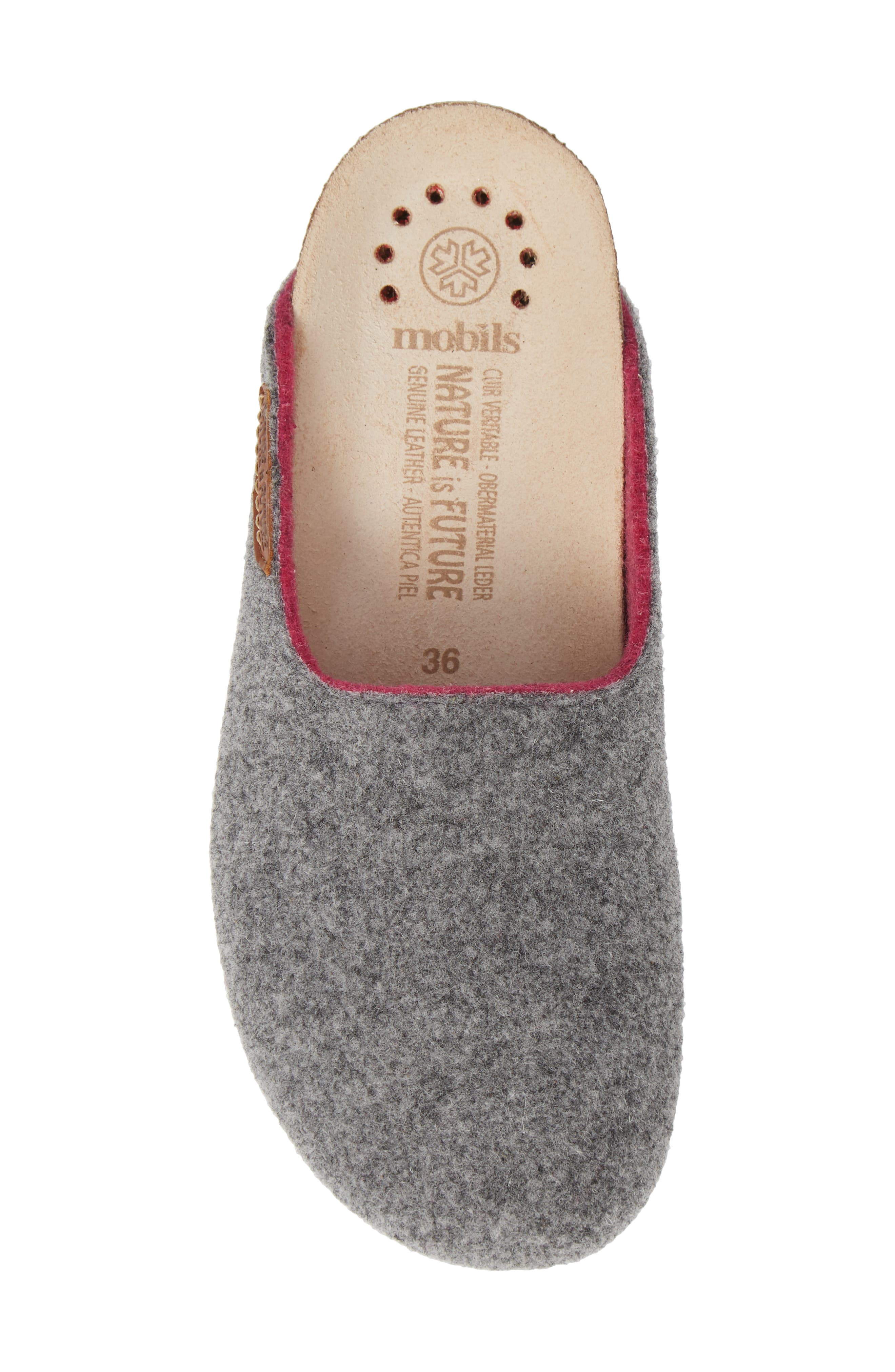 MEPHISTO, Thea Boiled Wool Clog, Alternate thumbnail 5, color, GREY FABRIC