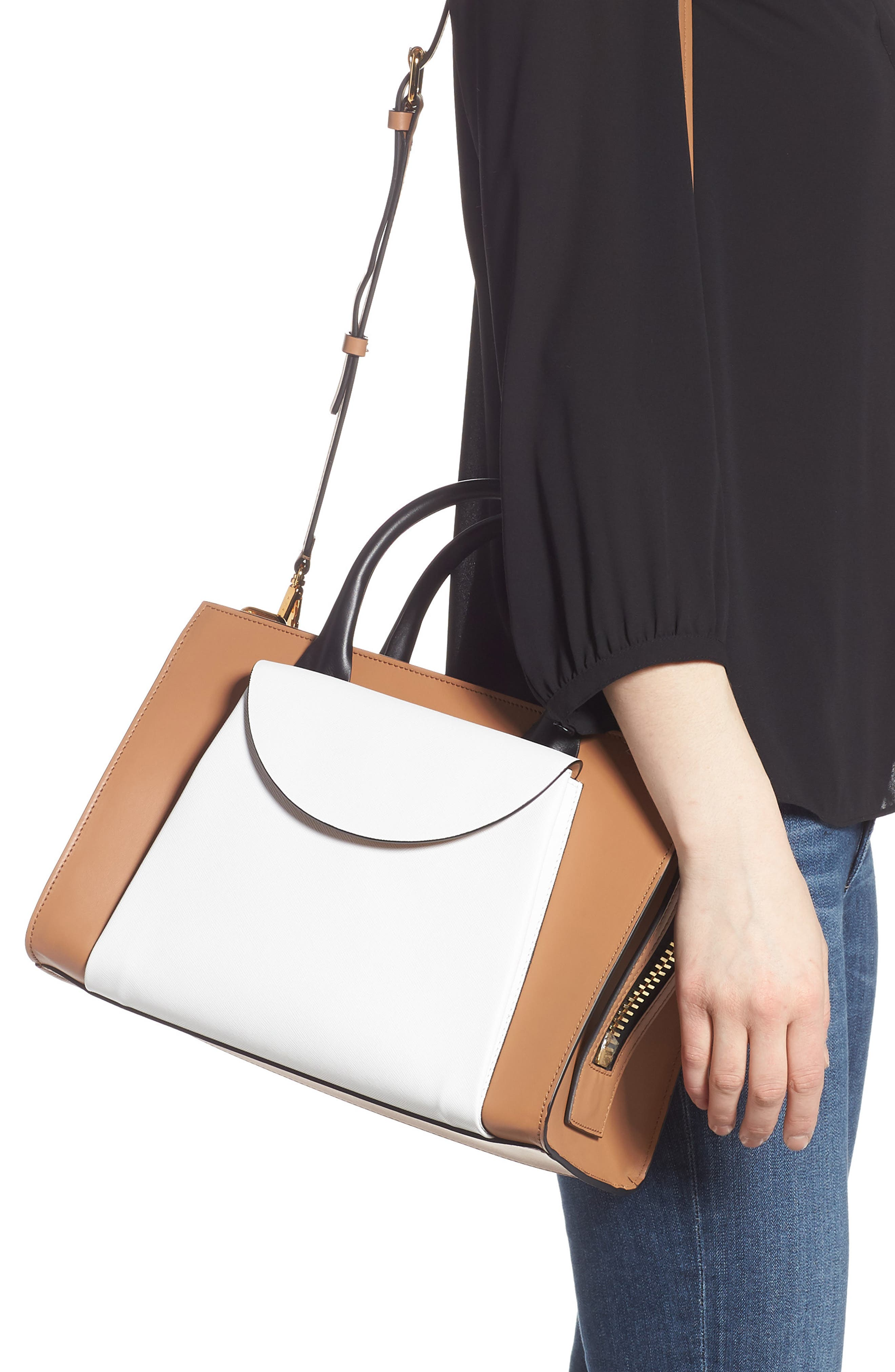MARNI, Medium Law Colorblock Top Handle Satchel, Alternate thumbnail 2, color, POMPEII/ LIMESTONE/ BLACK