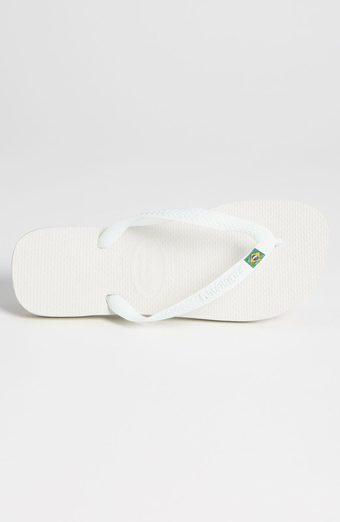 HAVAIANAS, 'Brazil' Flip Flop, Alternate thumbnail 6, color, WHITE