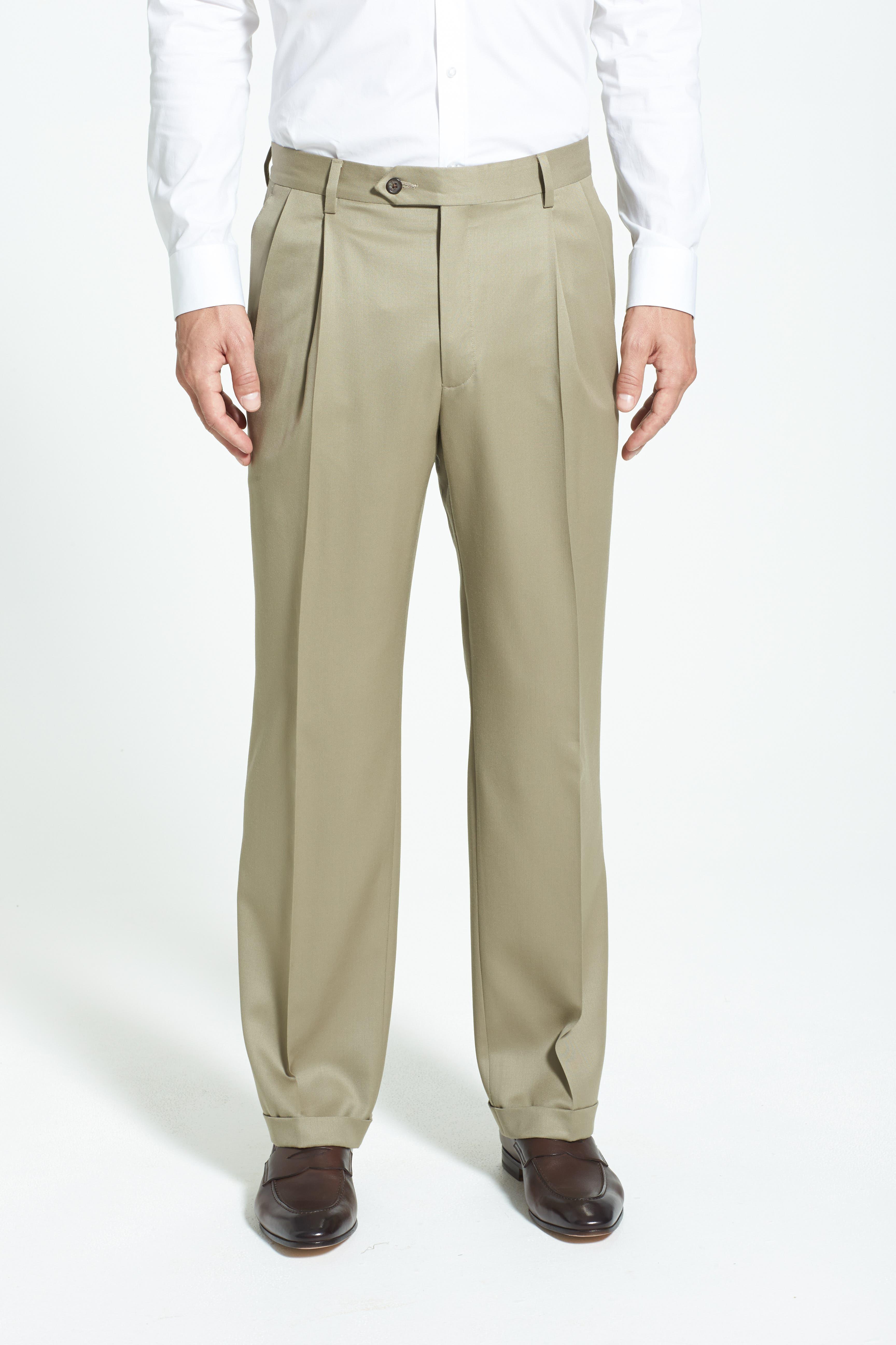 BERLE, Pleated Wool Gabardine Trousers, Alternate thumbnail 3, color, TAN
