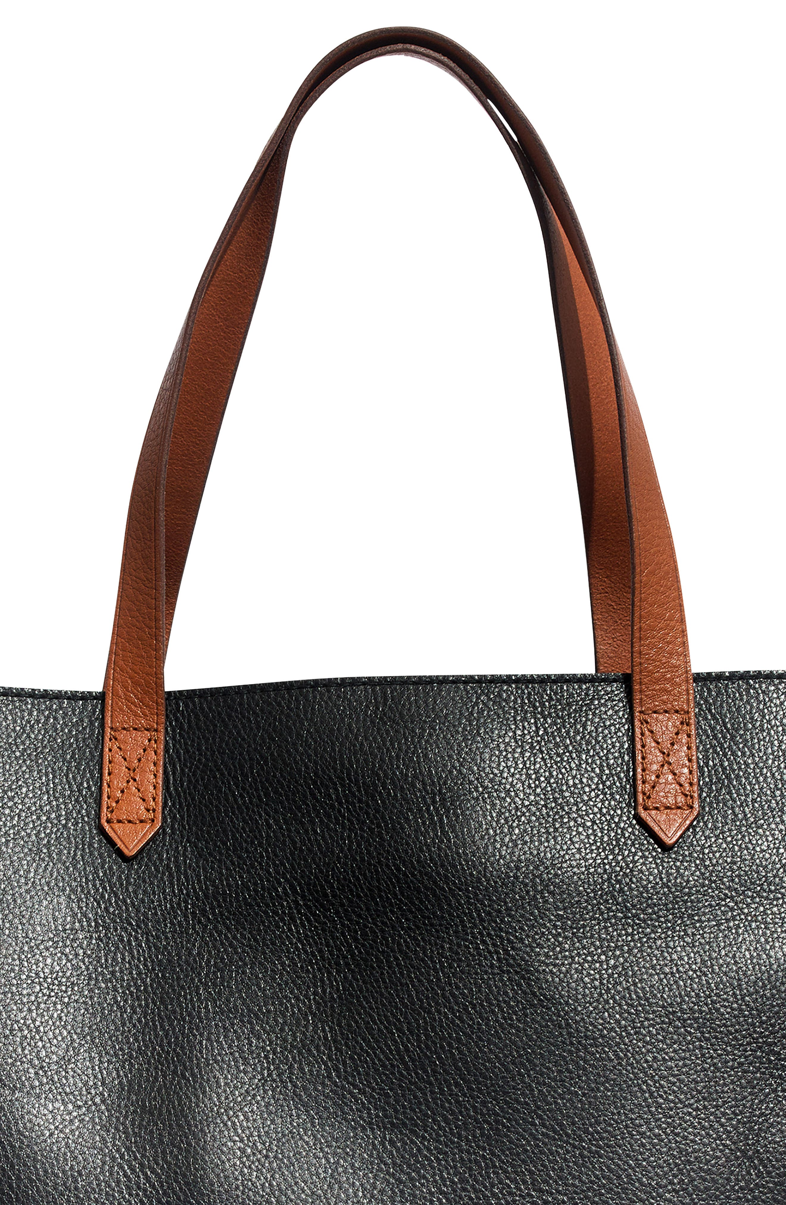 MADEWELL, Zip Top Transport Leather Tote, Alternate thumbnail 8, color, TRUE BLACK W/ BROWN