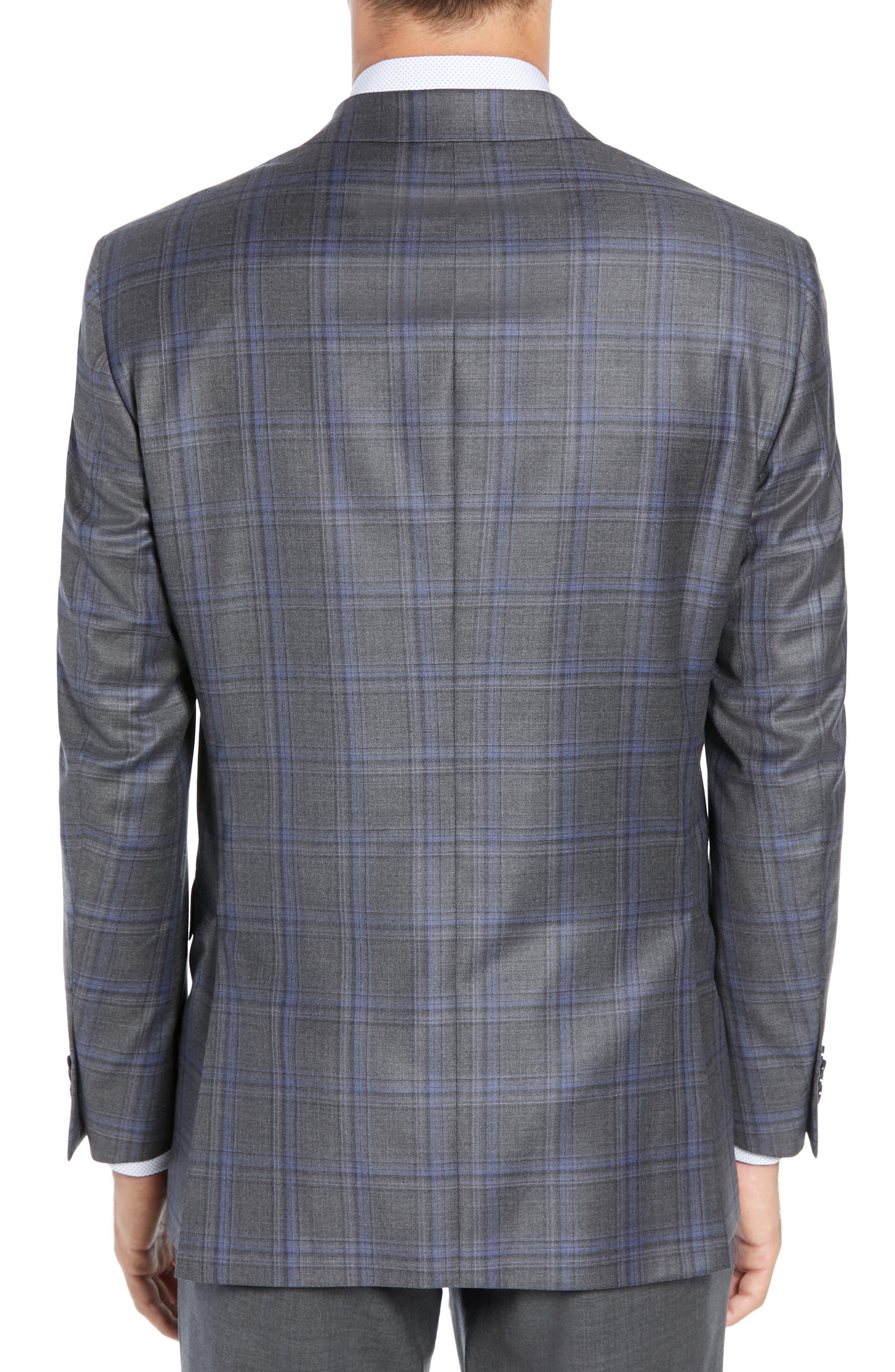 PETER MILLAR, Classic Fit Grey Plaid Sport Coat, Alternate thumbnail 2, color, GREY