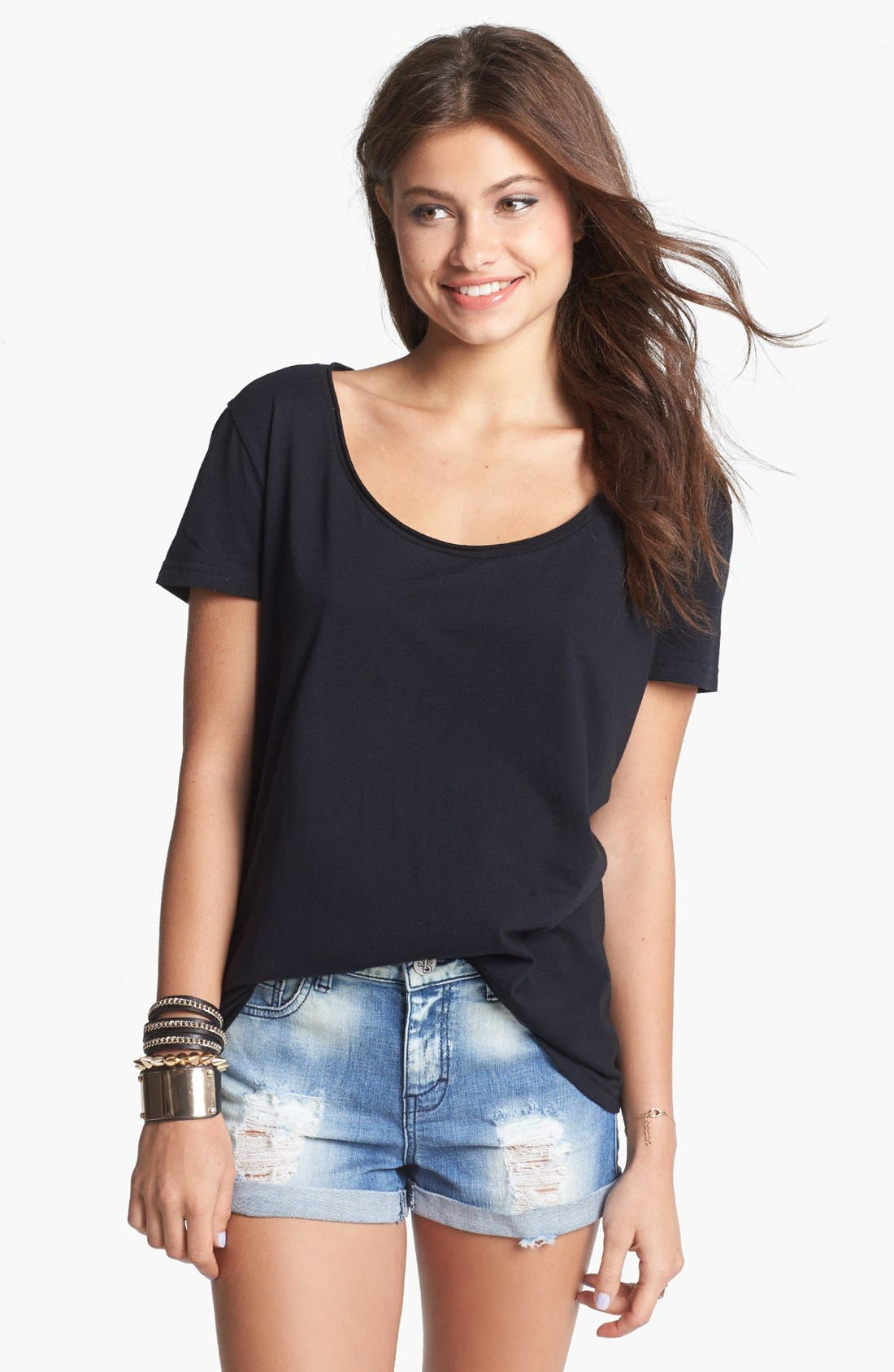 BP., Oversized Scoop Neck Tee, Main thumbnail 1, color, 001