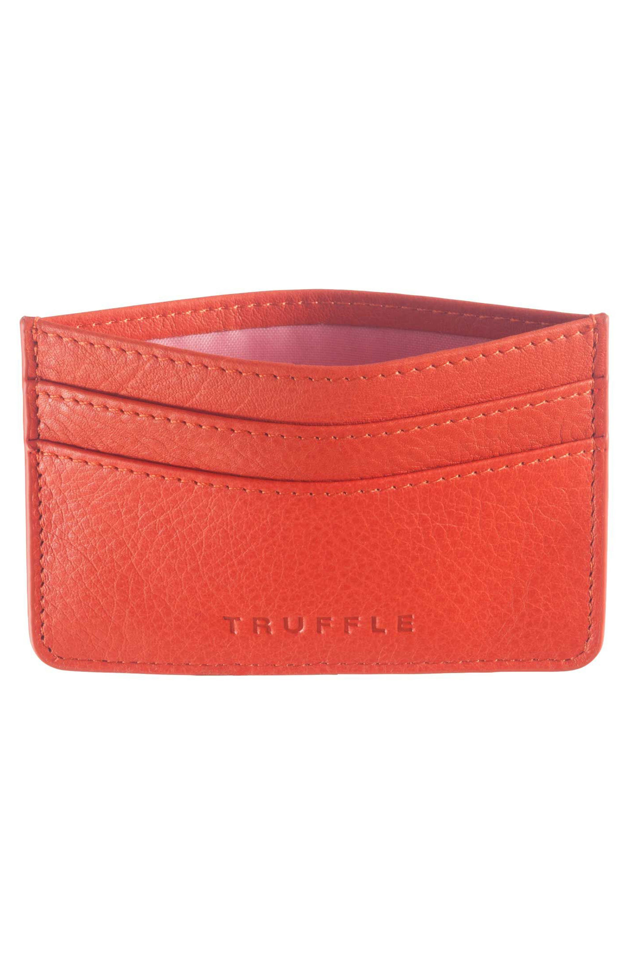 TRUFFLE, Privacy Leather Card Case, Alternate thumbnail 2, color, POPPY