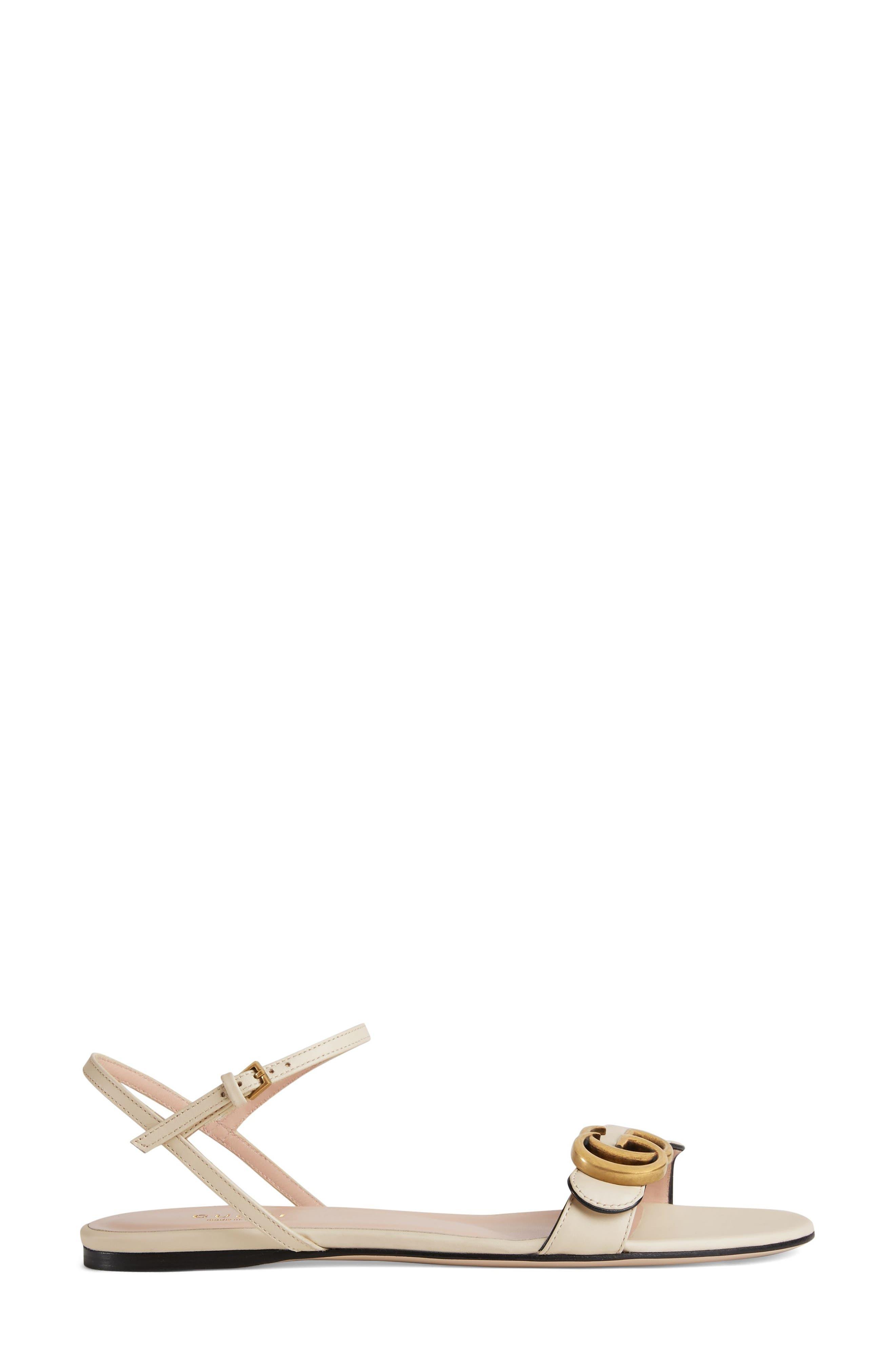 GUCCI, Marmont Quarter Strap Flat Sandal, Alternate thumbnail 2, color, MYSTIC WHITE