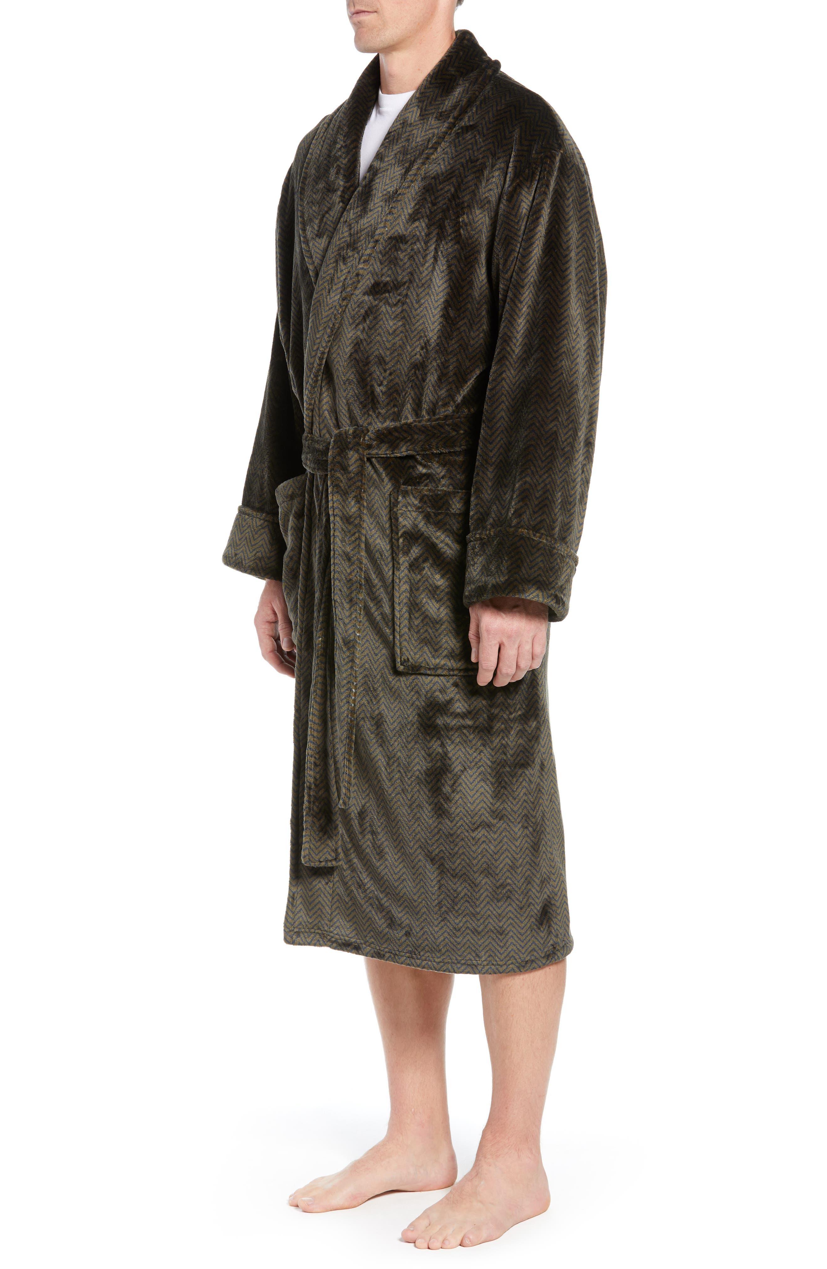 DANIEL BUCHLER, Chevron Fleece Robe, Alternate thumbnail 3, color, ARMY/ MIDNIGHT