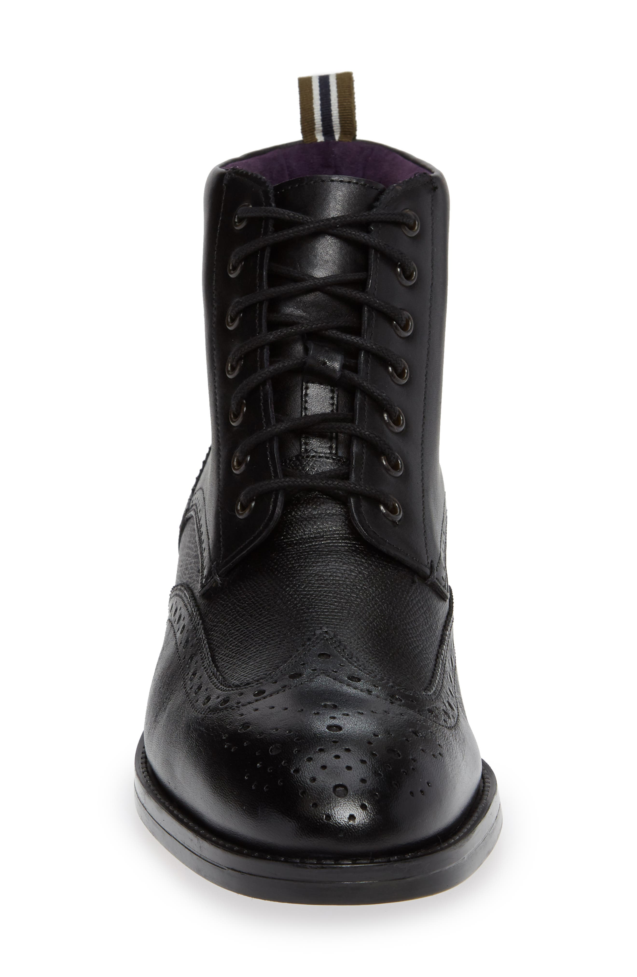 TED BAKER LONDON, Twrens Wingtip Boot, Alternate thumbnail 4, color, BLACK LEATHER