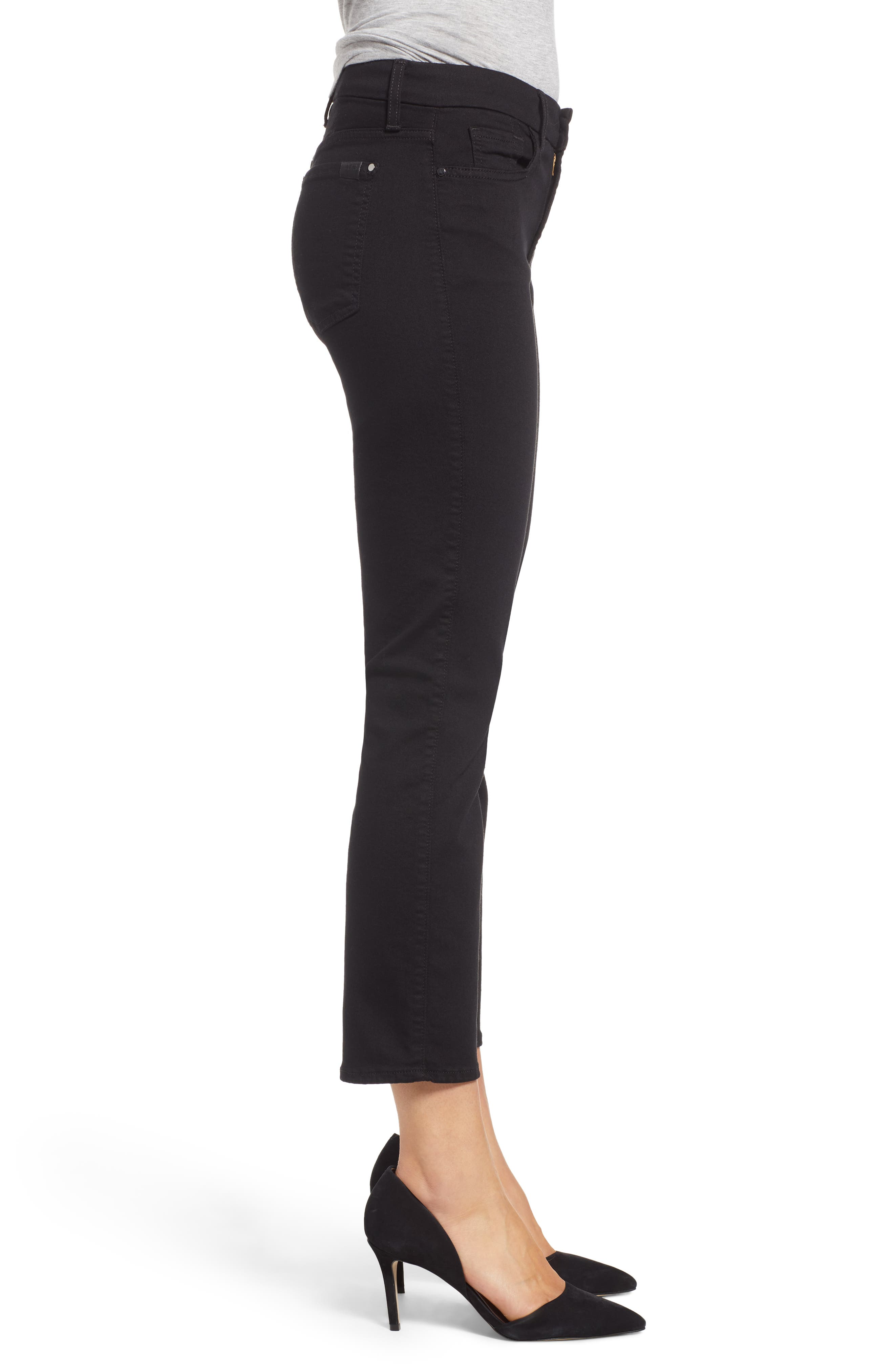 JEN7 BY 7 FOR ALL MANKIND, Stretch Crop Straight Leg Jeans, Alternate thumbnail 3, color, BLACK