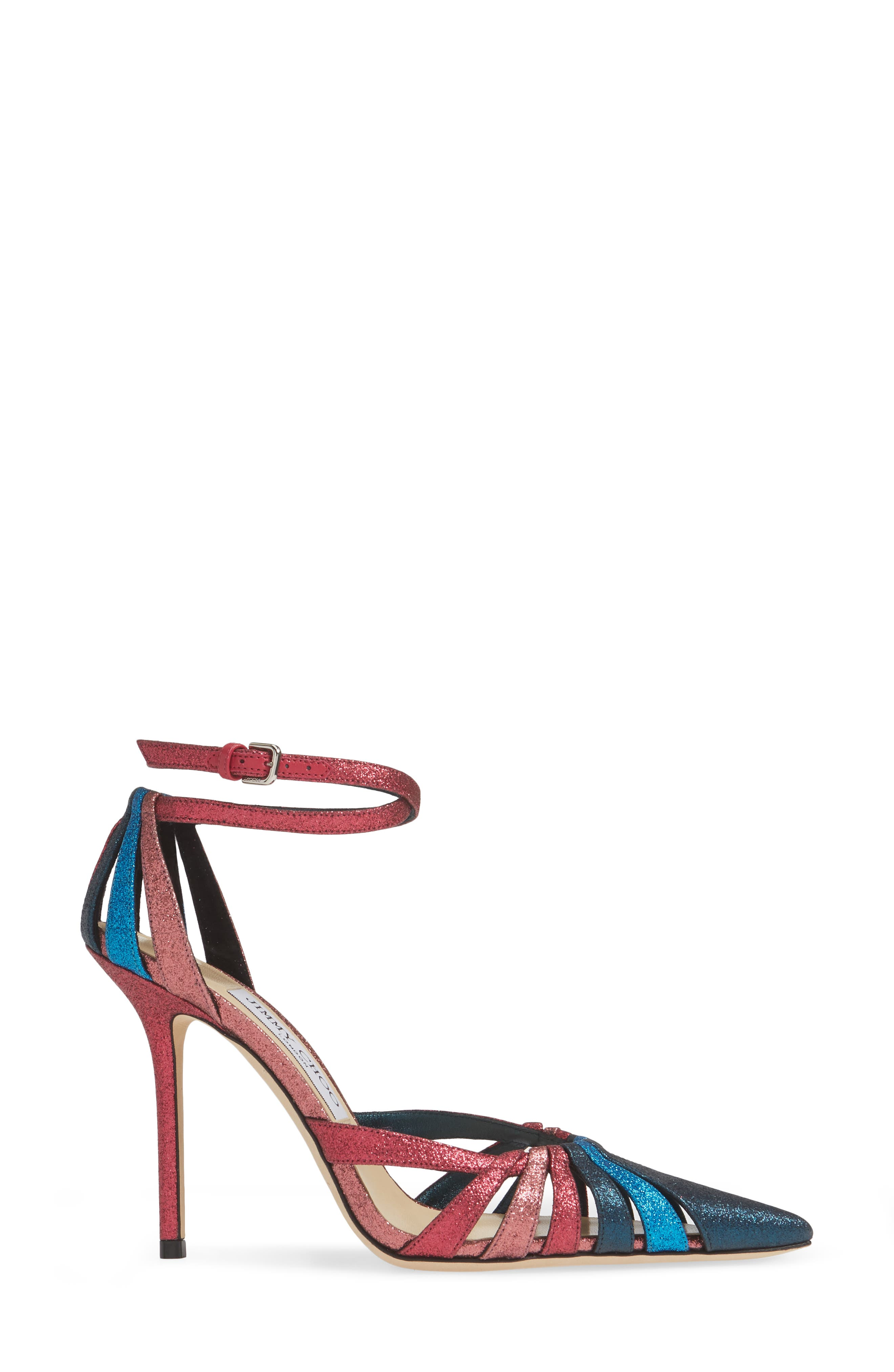 JIMMY CHOO, Travis Strappy Glitter Pump, Alternate thumbnail 3, color, RASPBERRY MIX