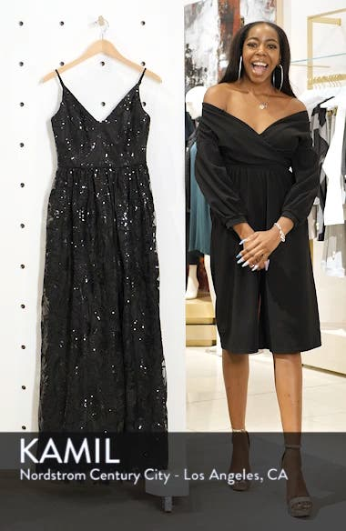 Sequin Embroidered Mesh Evening Dress, sales video thumbnail