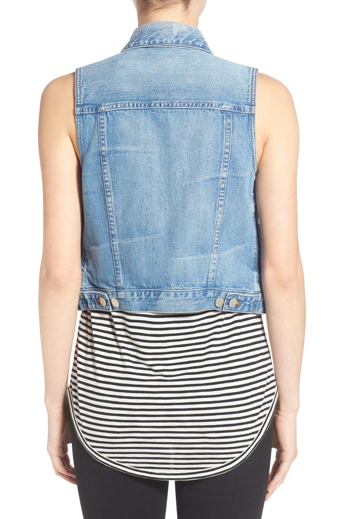 MADEWELL, Chest Pocket Denim Vest, Alternate thumbnail 6, color, 400