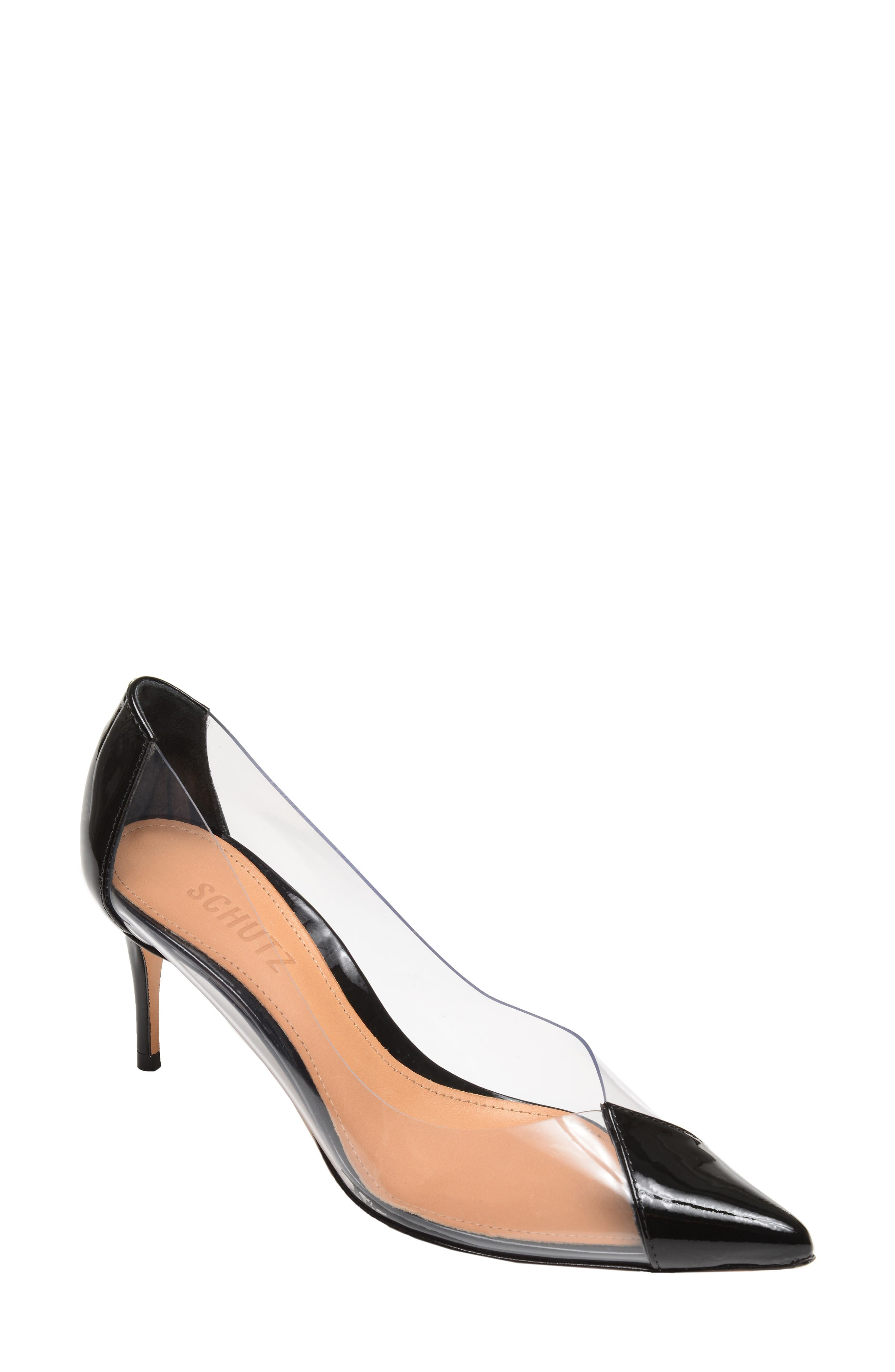 SCHUTZ, Garthy Pointy Toe Pump, Main thumbnail 1, color, BLACK PATENT LEATHER