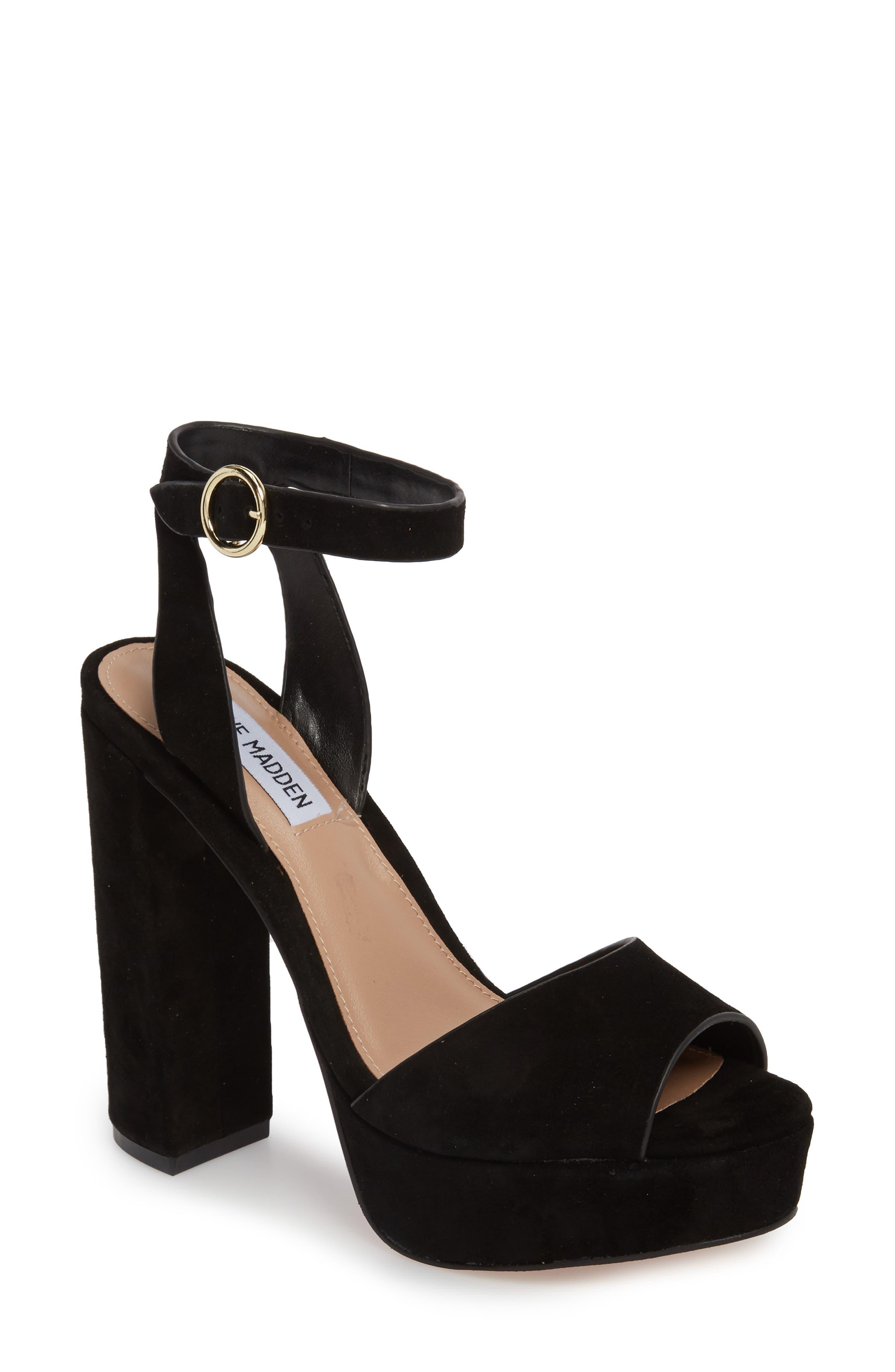 STEVE MADDEN, Madeline Platform Sandal, Main thumbnail 1, color, BLACK SUEDE