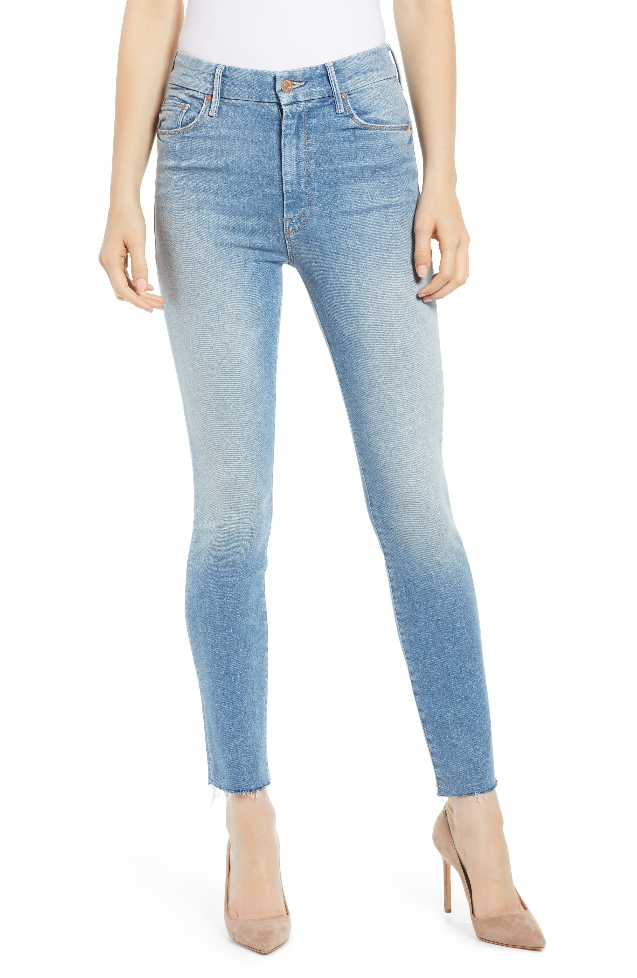 MOTHER The Looker High Waist Fray Ankle Skinny Jeans, Main, color, LEOPARD