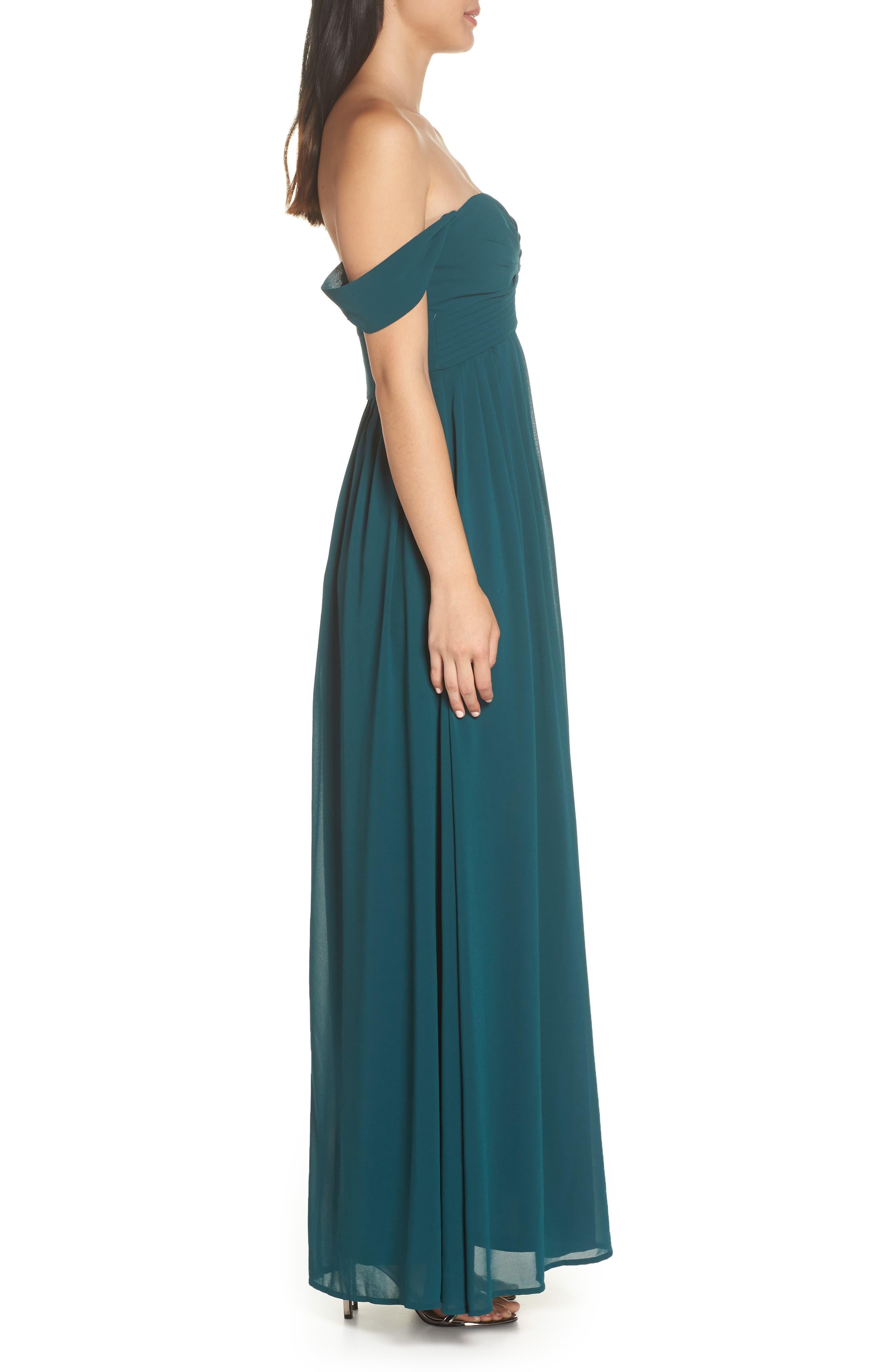 LULUS, Convertible Neckline Chiffon Gown, Alternate thumbnail 3, color, DEEP EMERALD