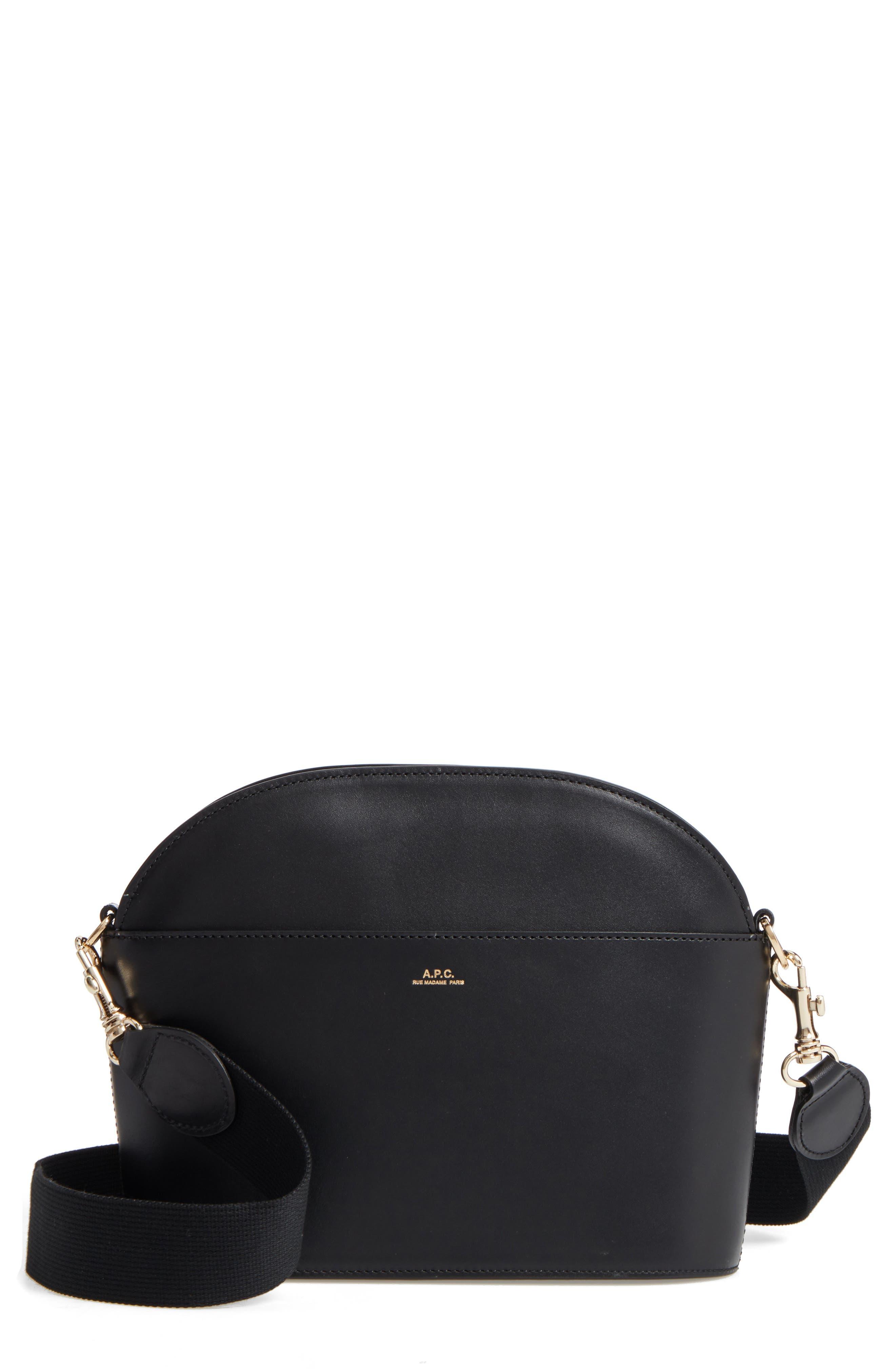 A.P.C. Gabrielle Leather Shoulder Bag, Main, color, NOIR