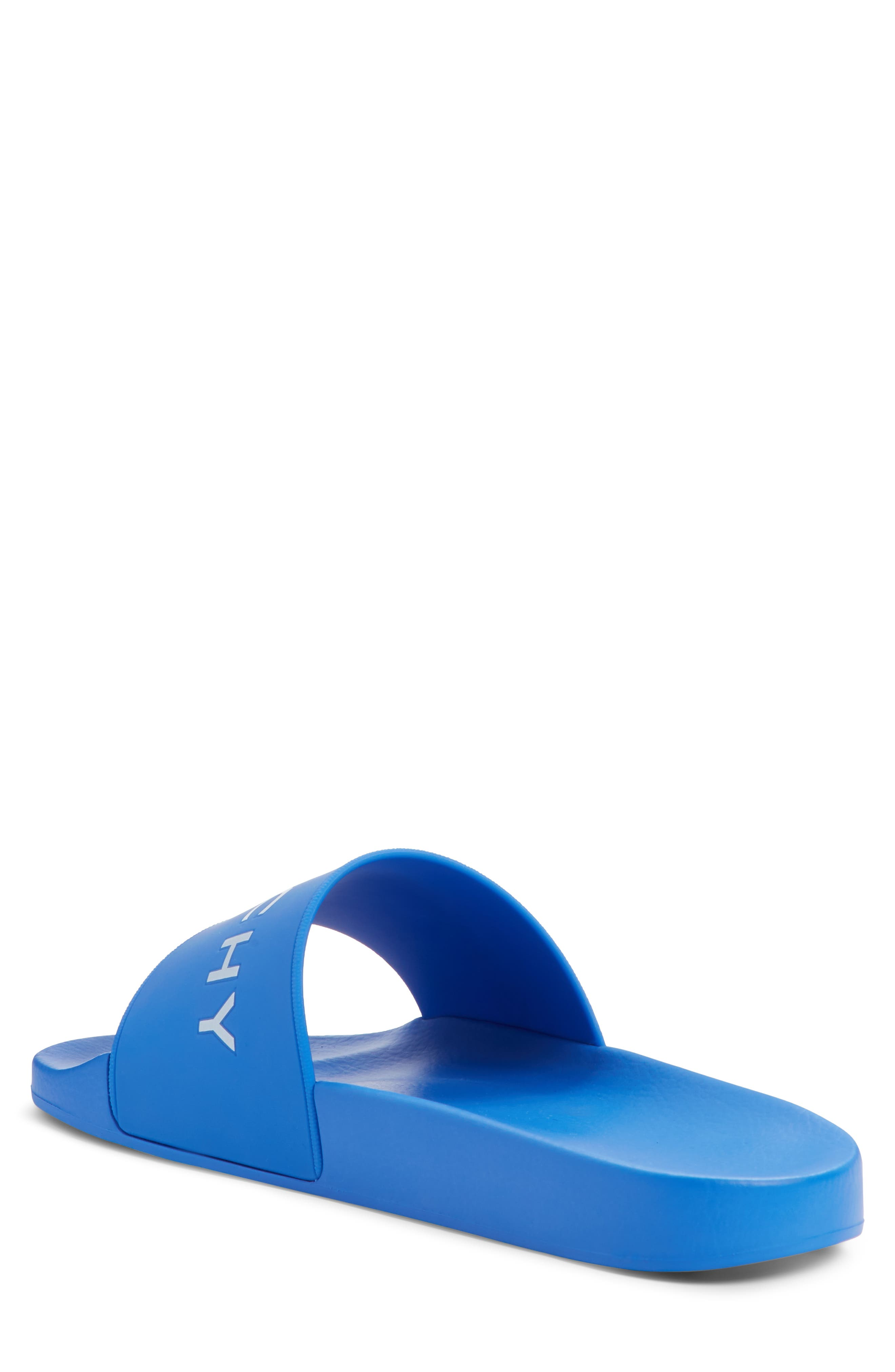 GIVENCHY, Slide Sandal, Alternate thumbnail 2, color, ELECTRIC BLUE/ WHITE