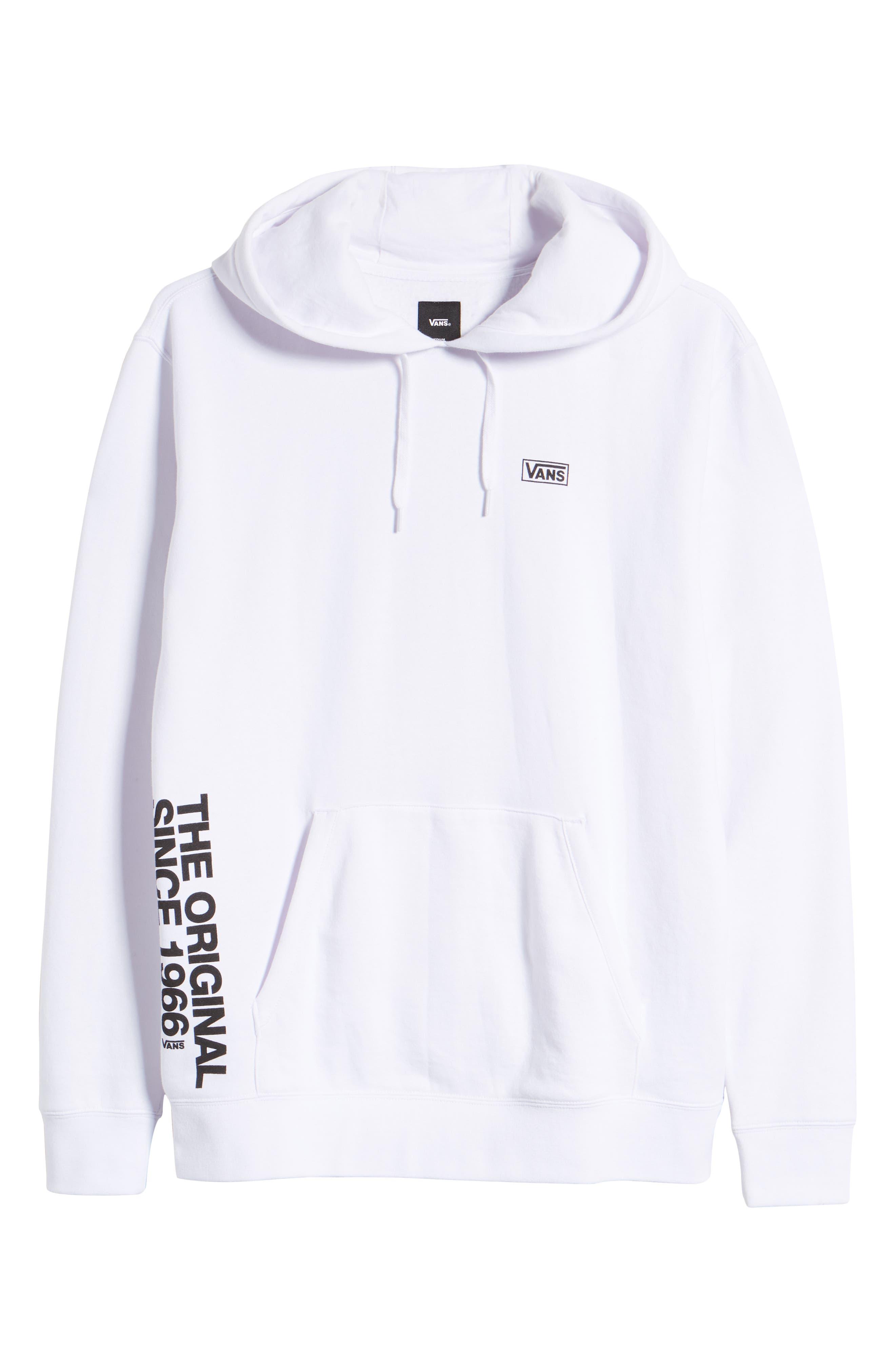 VANS, Off the Wall Distort Hooded Sweatshirt, Alternate thumbnail 6, color, WHITE