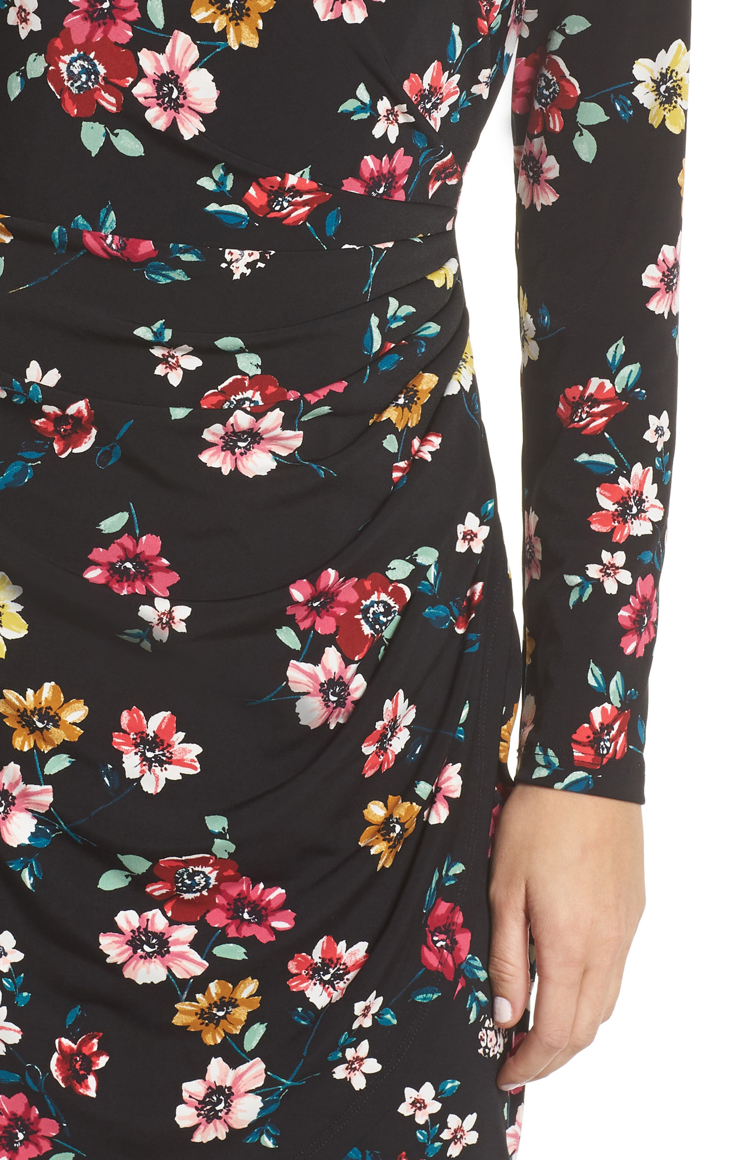 ELIZA J, Floral Sheath Dress, Alternate thumbnail 5, color, 001