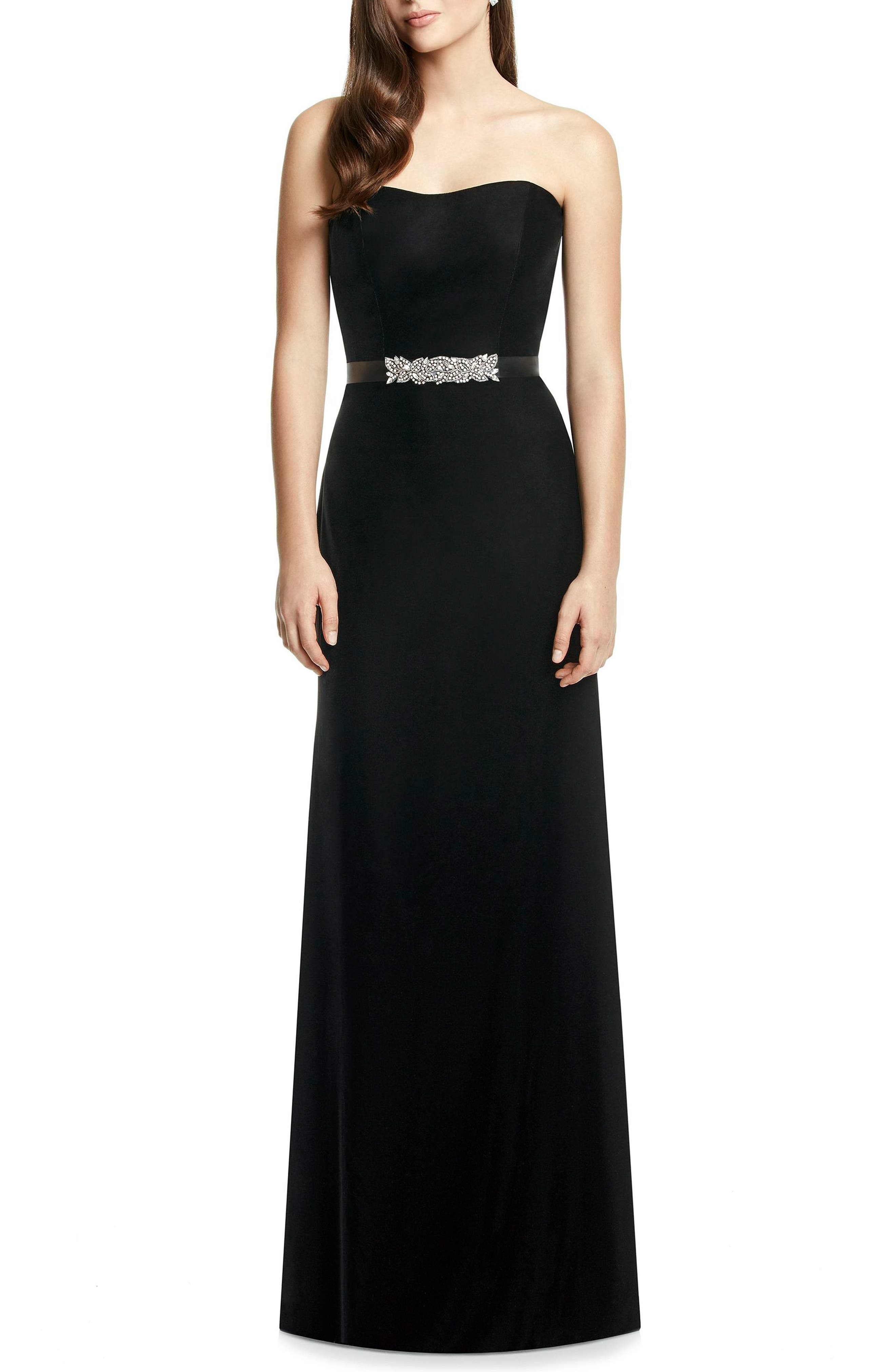 DESSY COLLECTION, Embellished Belt Strapless Velvet Gown, Main thumbnail 1, color, BLACK