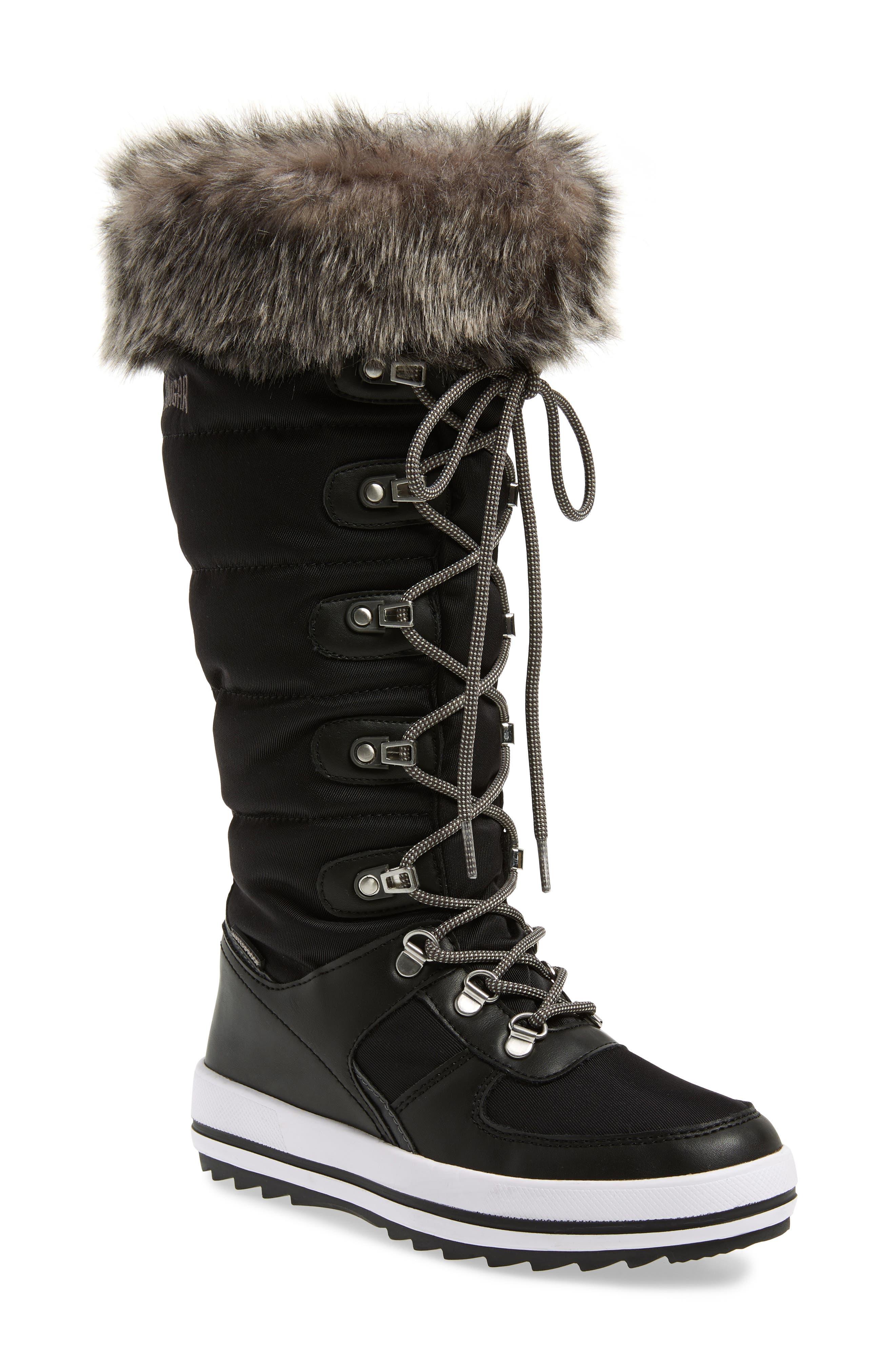 COUGAR, Vesta Faux Fur Collar Knee High Snow Boot, Main thumbnail 1, color, BLACK FABRIC
