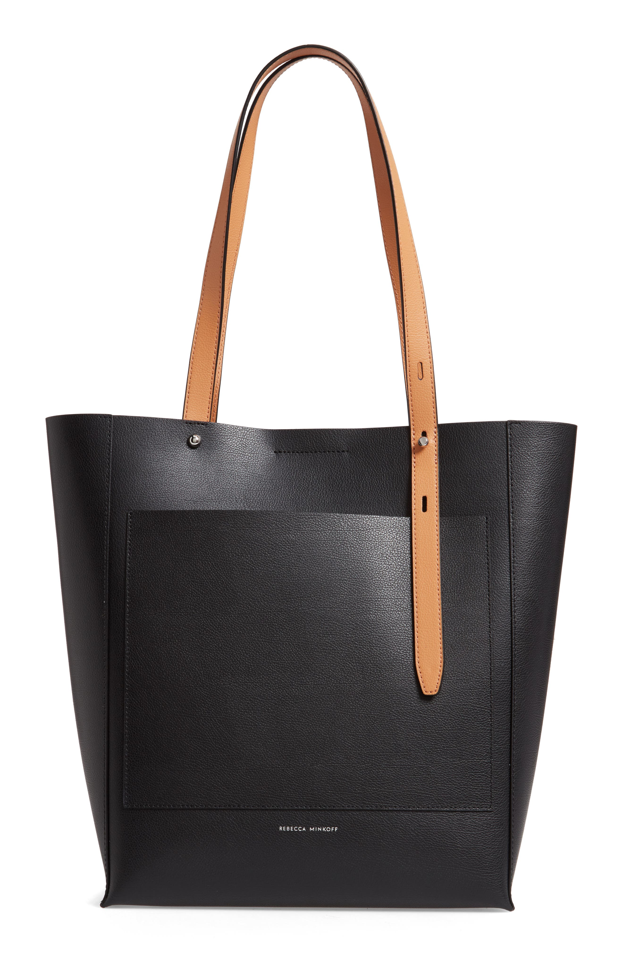 REBECCA MINKOFF, Stella Leather Tote, Alternate thumbnail 4, color, BLACK/ HONEY