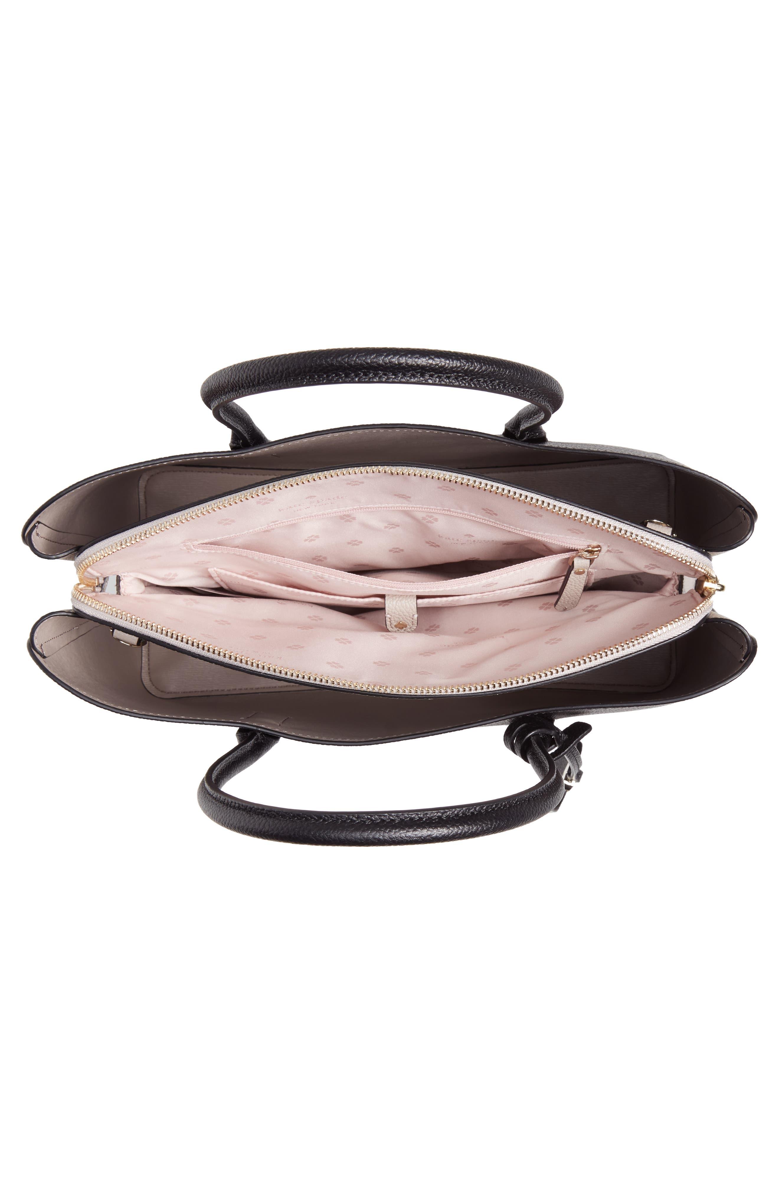 KATE SPADE NEW YORK, large margaux leather satchel, Alternate thumbnail 5, color, BLACK/ WARM TAUPE