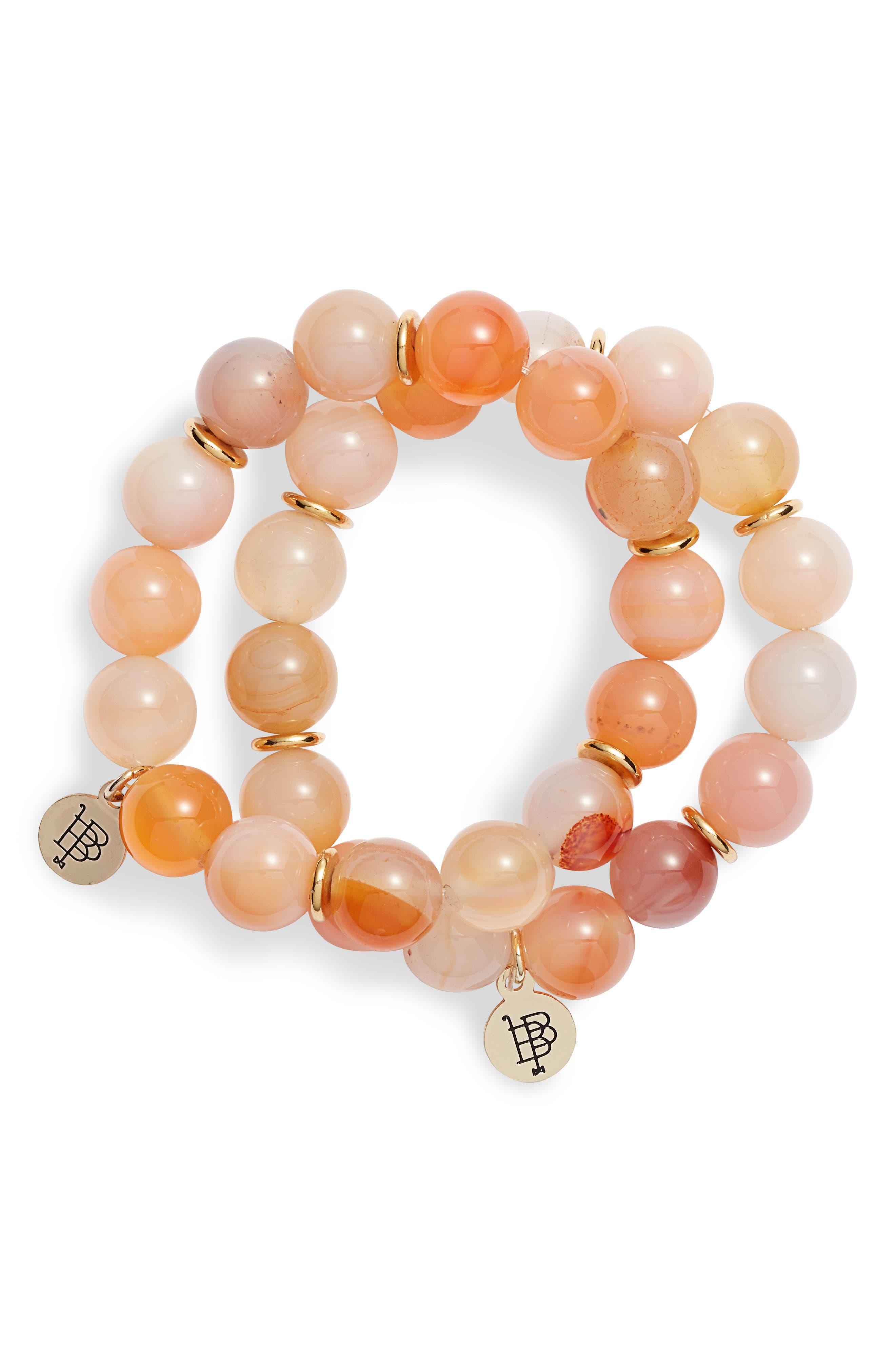 BOURBON AND BOWETIES Set of 2 Stone Beaded Stretch Bracelets, Main, color, ORANGE