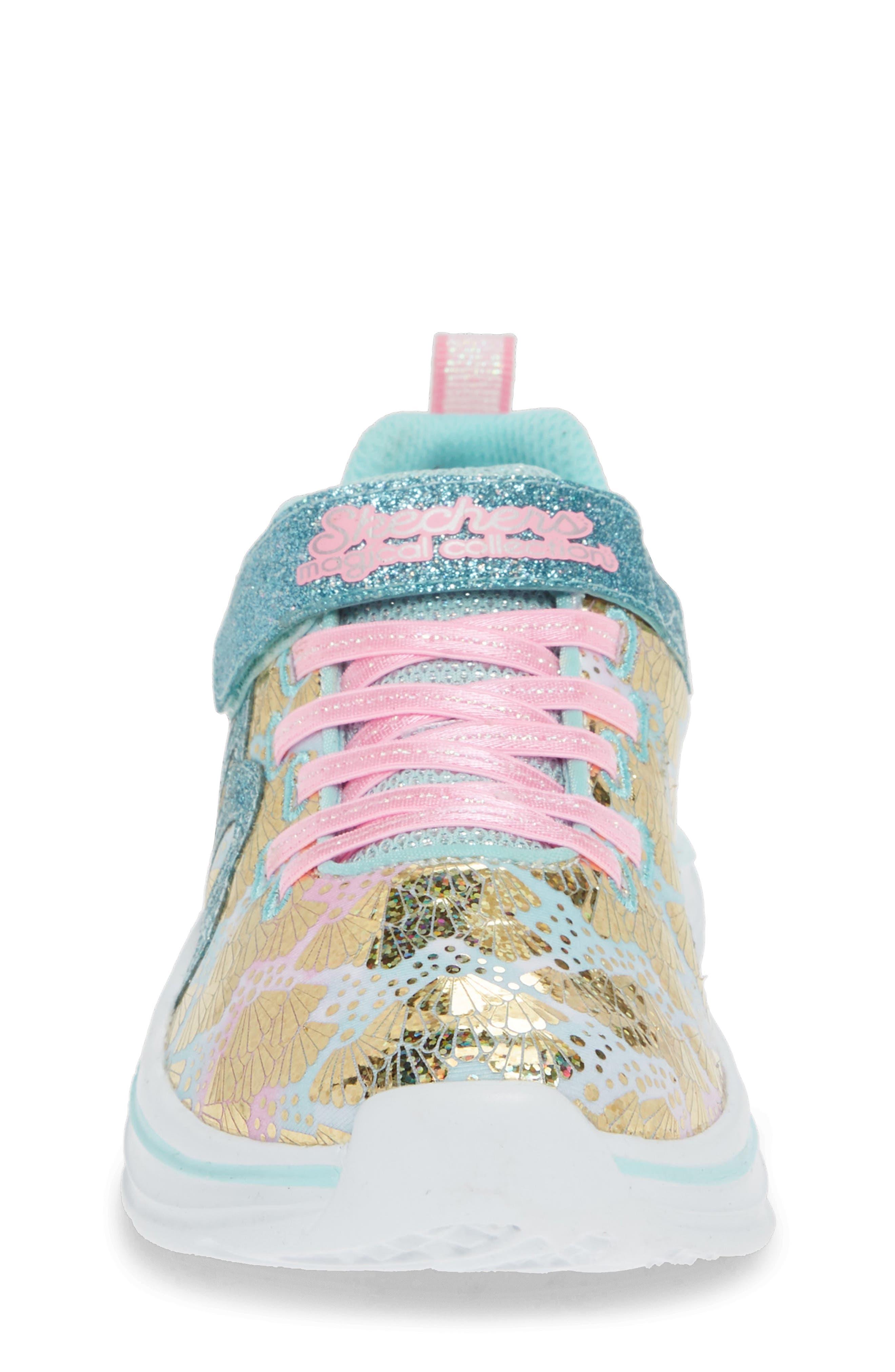 SKECHERS, Double Dreams Shimmer Sneaker, Alternate thumbnail 4, color, AQUA/ PINK TEXTILE