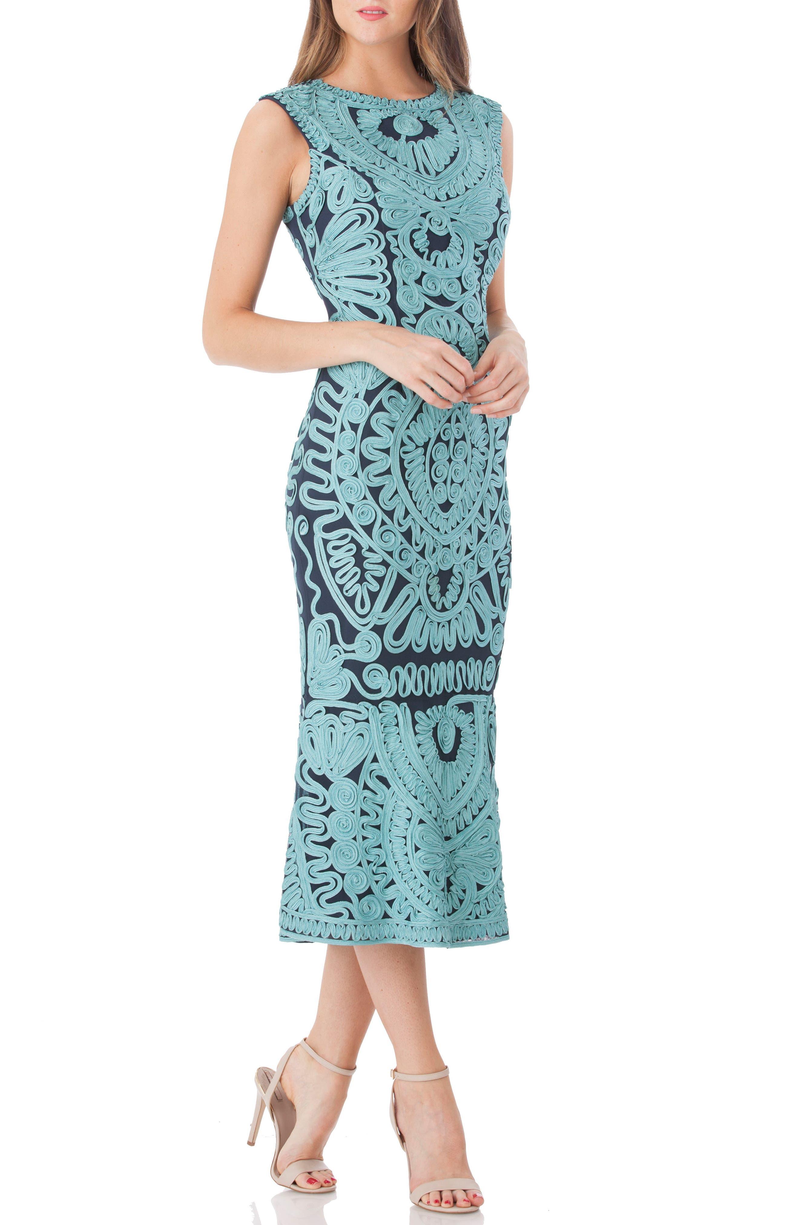 JS COLLECTIONS, Soutache Mesh Dress, Main thumbnail 1, color, 338