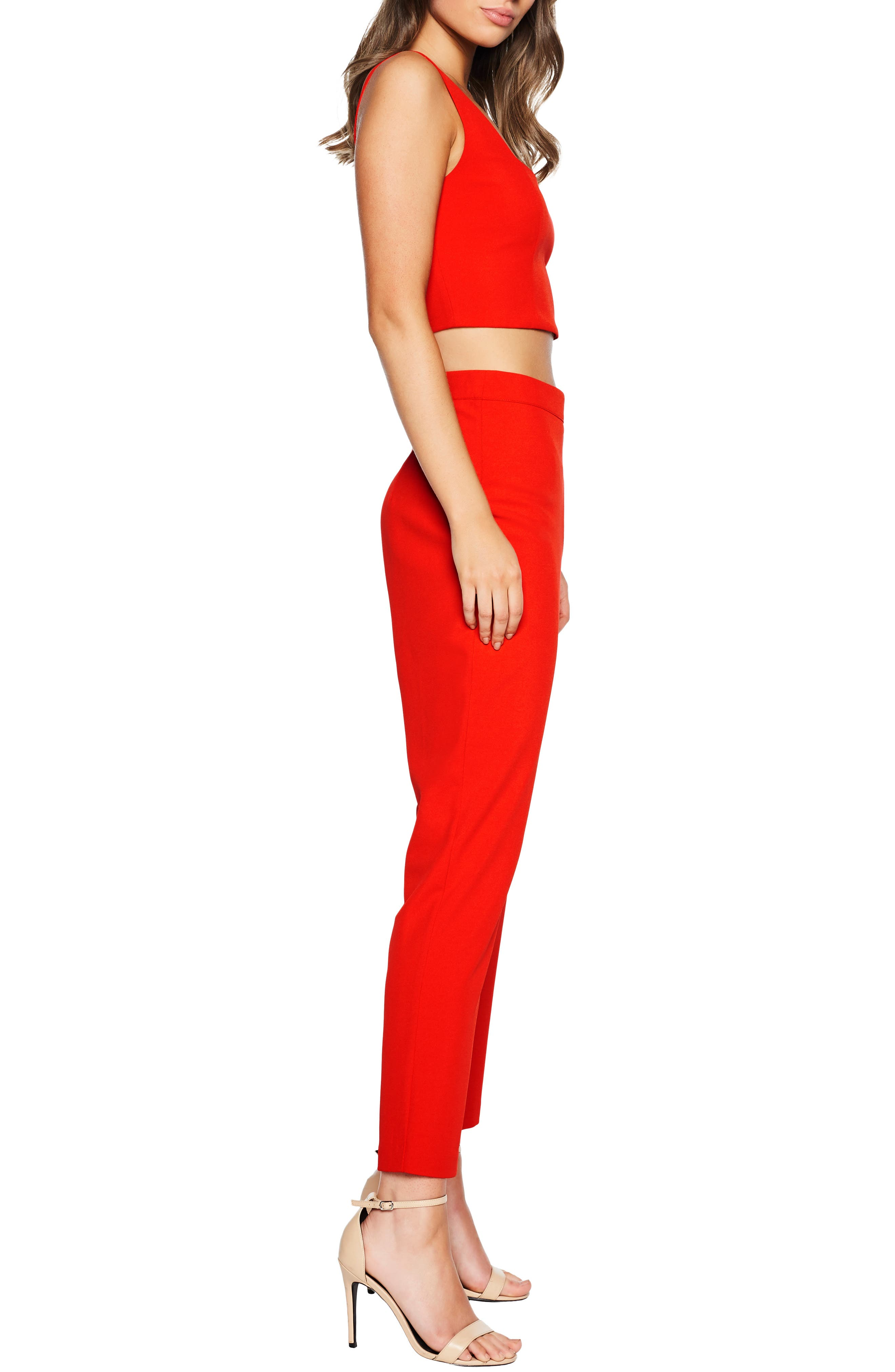 BARDOT, Chantelle Top, Alternate thumbnail 3, color, FIRE RED