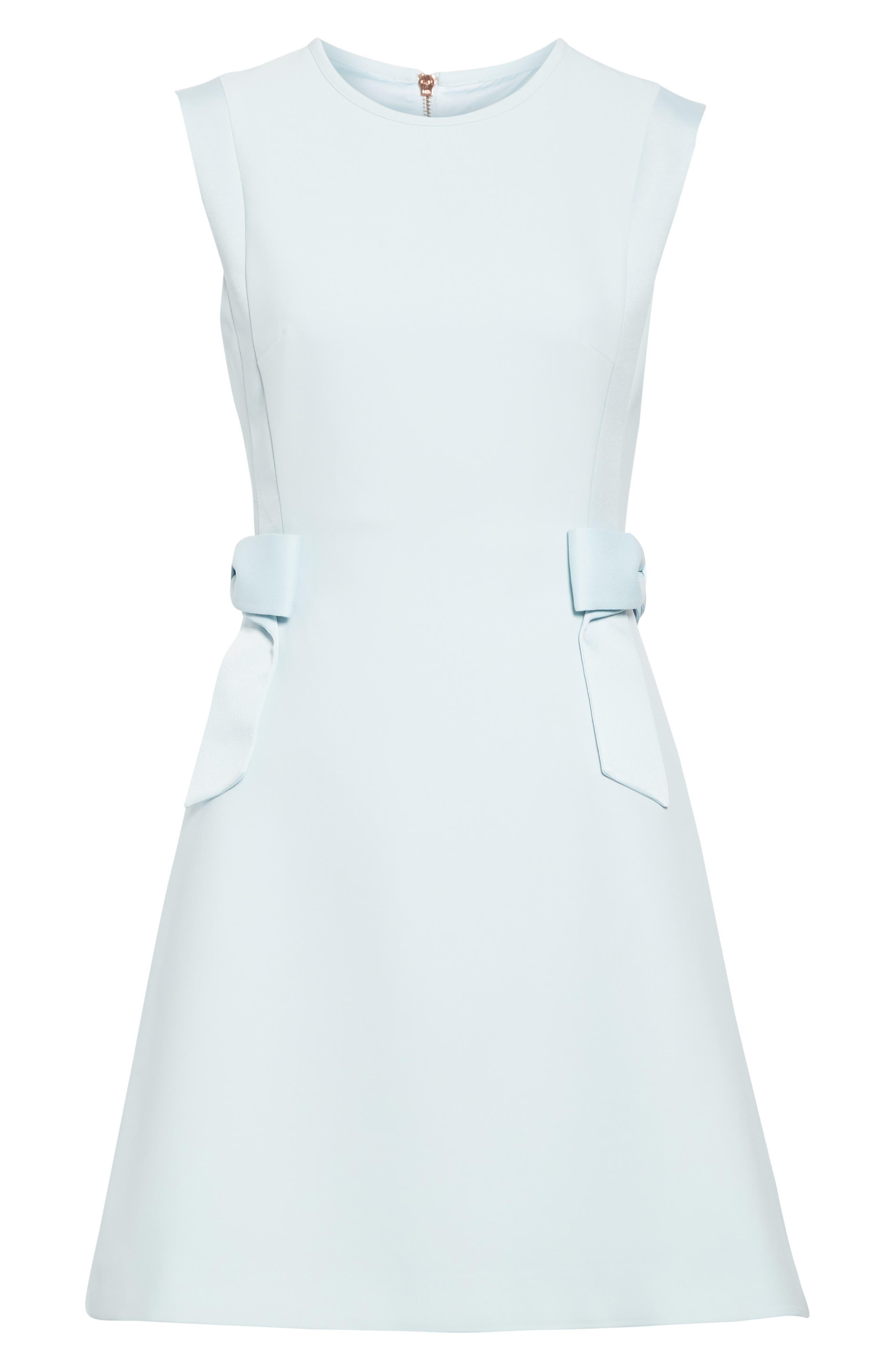 TED BAKER LONDON, Meline Side Bow Detail Dress, Alternate thumbnail 7, color, MINT