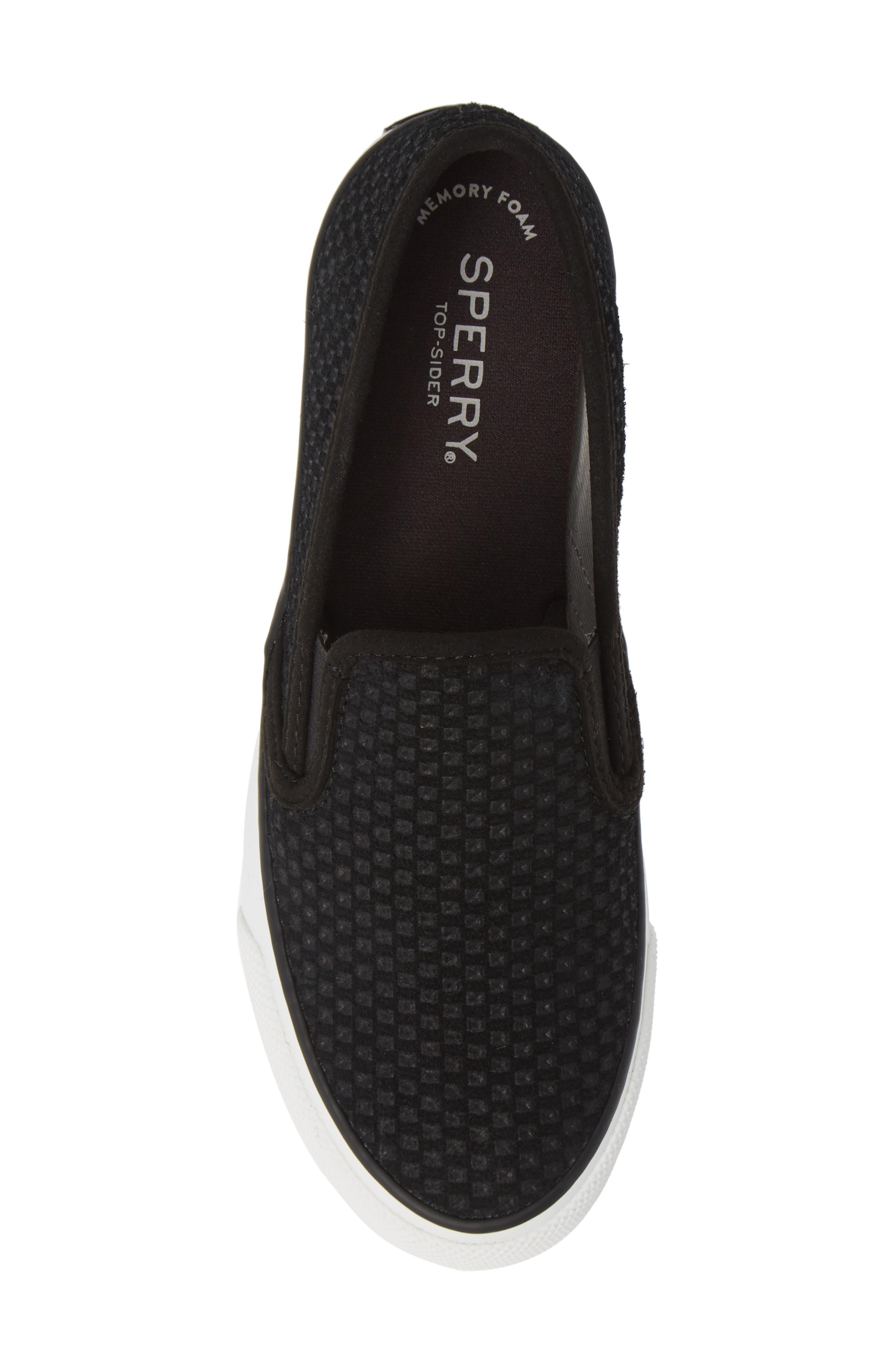 SPERRY, Seaside Embossed Slip-On Sneaker, Alternate thumbnail 5, color, BLACK CANVAS