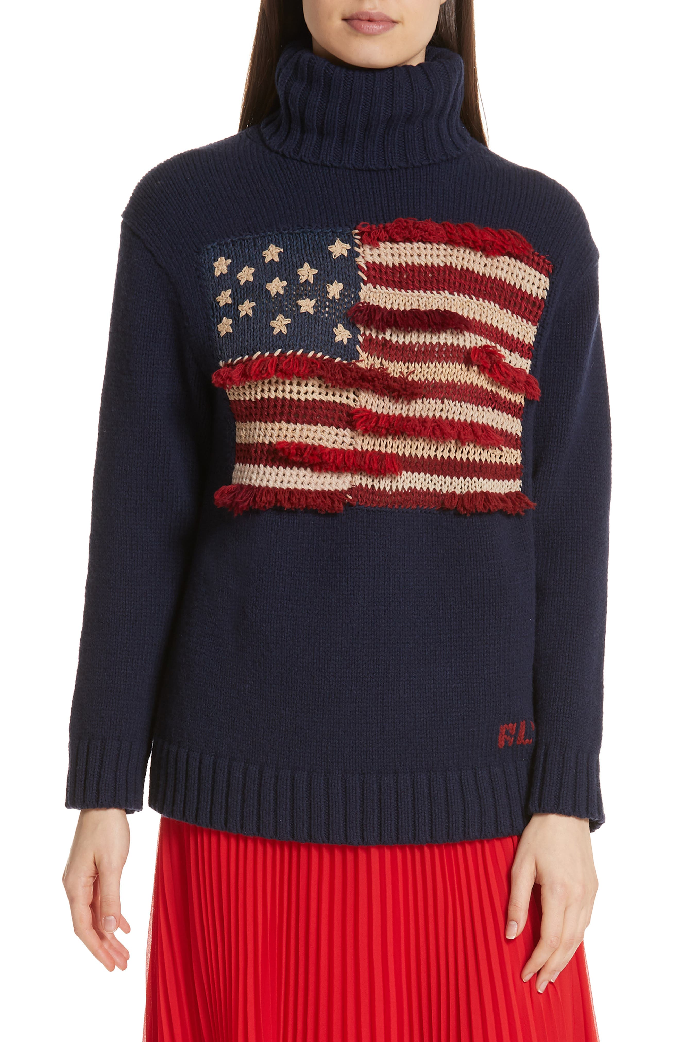 Polo Ralph Lauren Fringe Flag Wool Sweater, Blue