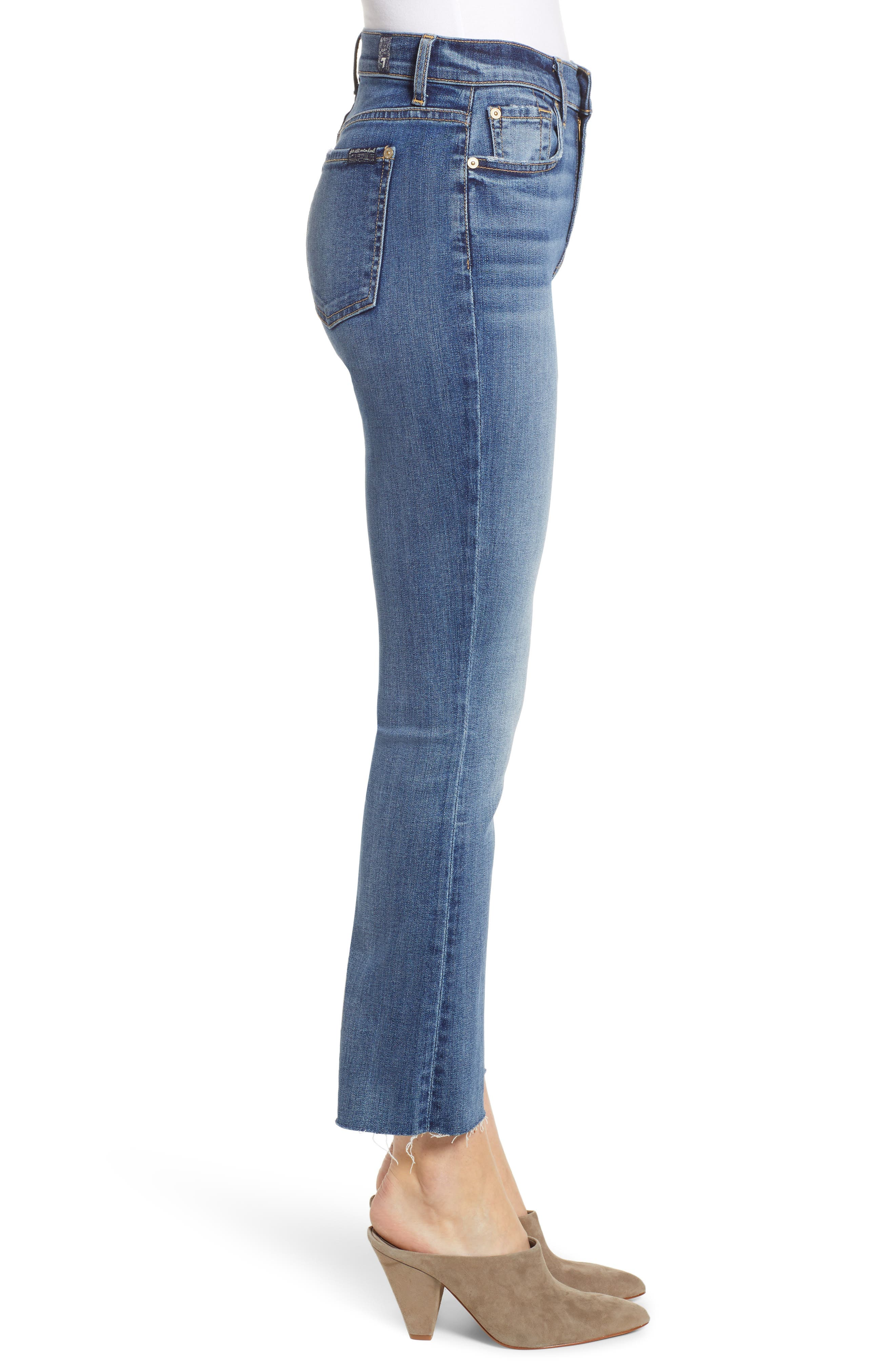 7 FOR ALL MANKIND<SUP>®</SUP>, High Waist Slim Crop Flare Jeans, Alternate thumbnail 4, color, CANYON RANCH